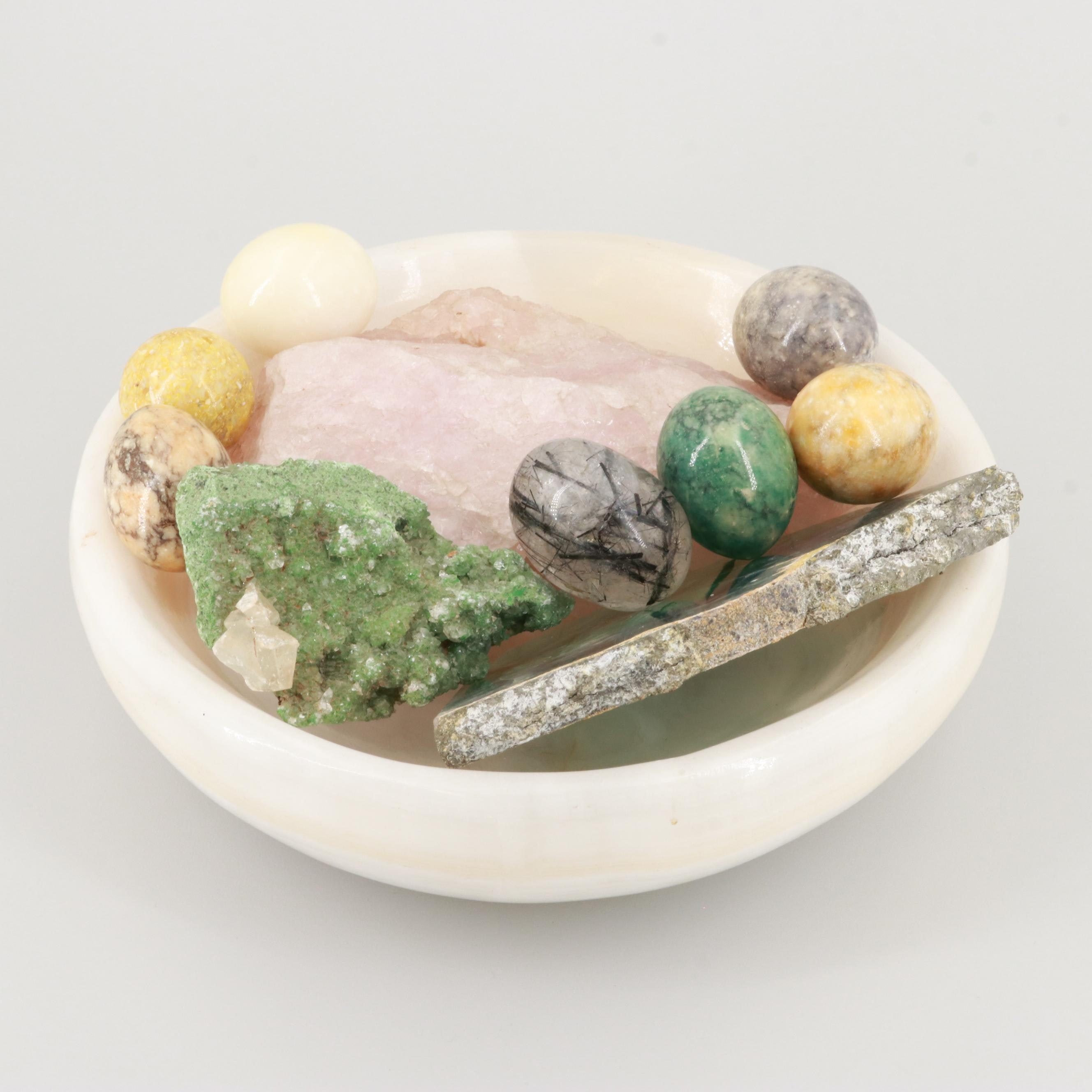 Polished Alabaster Bowl and Gemstone Eggs with Flourite and Calcite Specimens