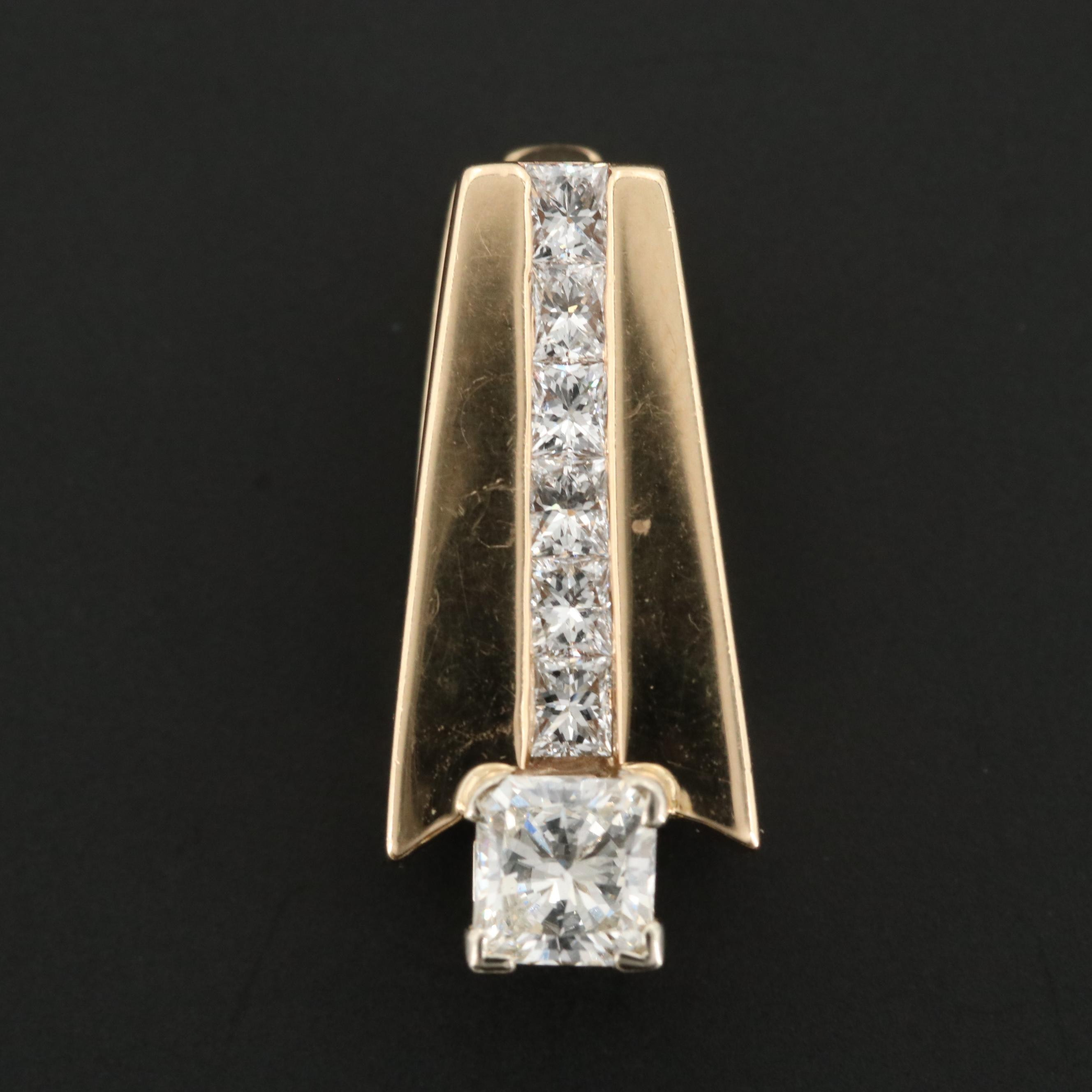 14K Yellow Gold 1.26 CTW Diamond Enhancer Pendant