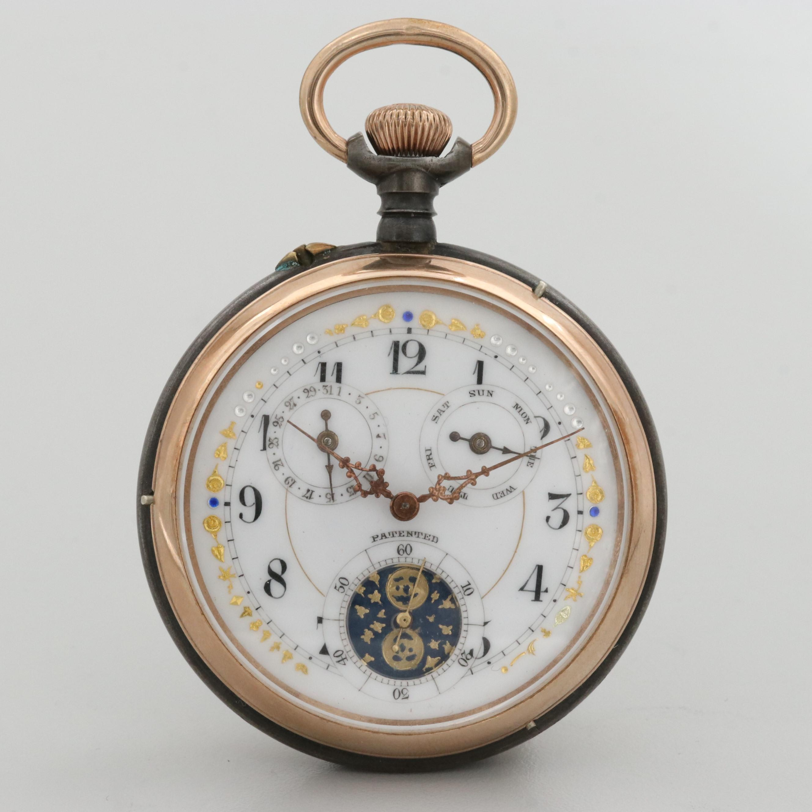 Antique Swiss Gunmetal and Gold Tone Pocket Watch With Moon Phase Dial and Date