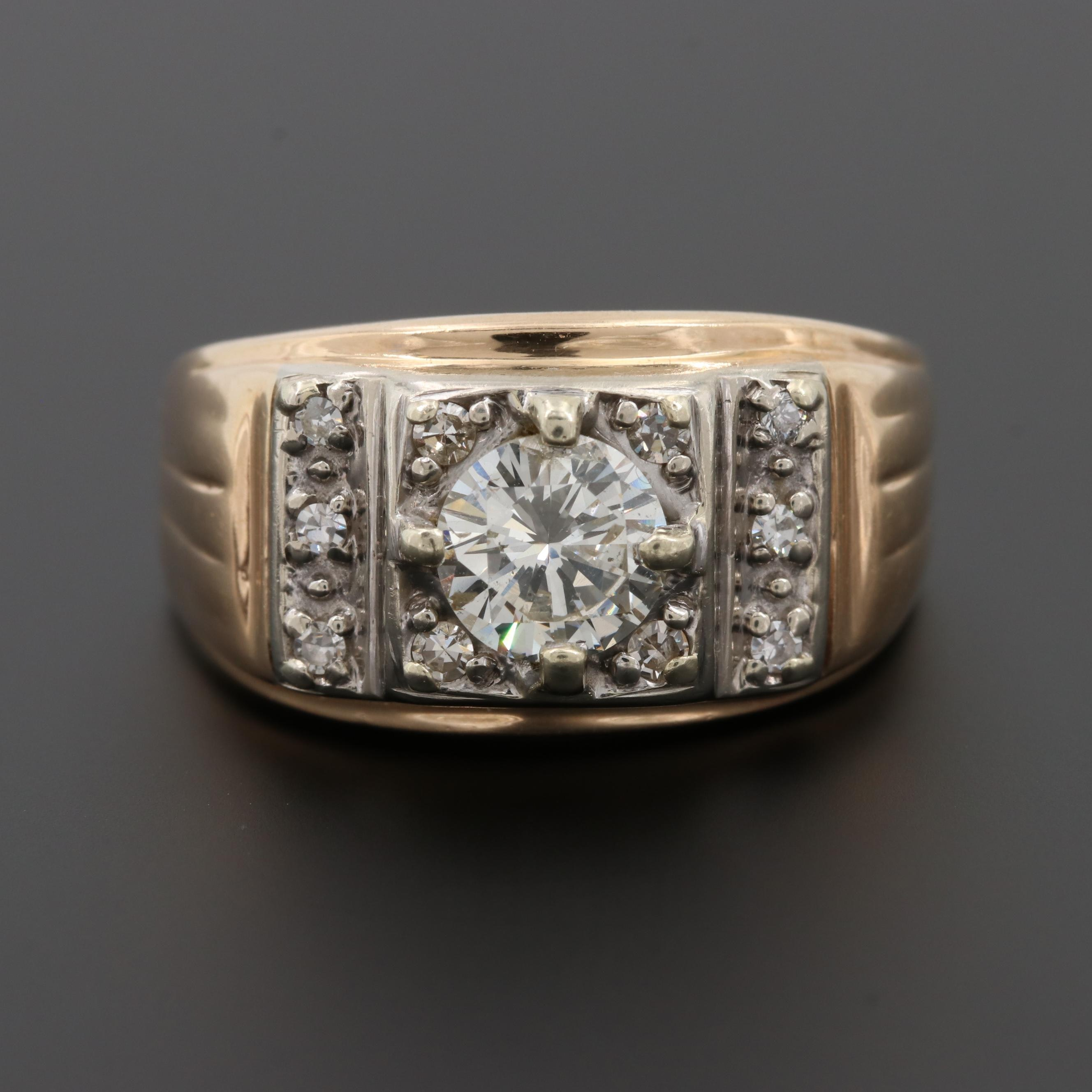 14K Yellow Gold 1.14 CTW Diamond Ring with White Gold Accents