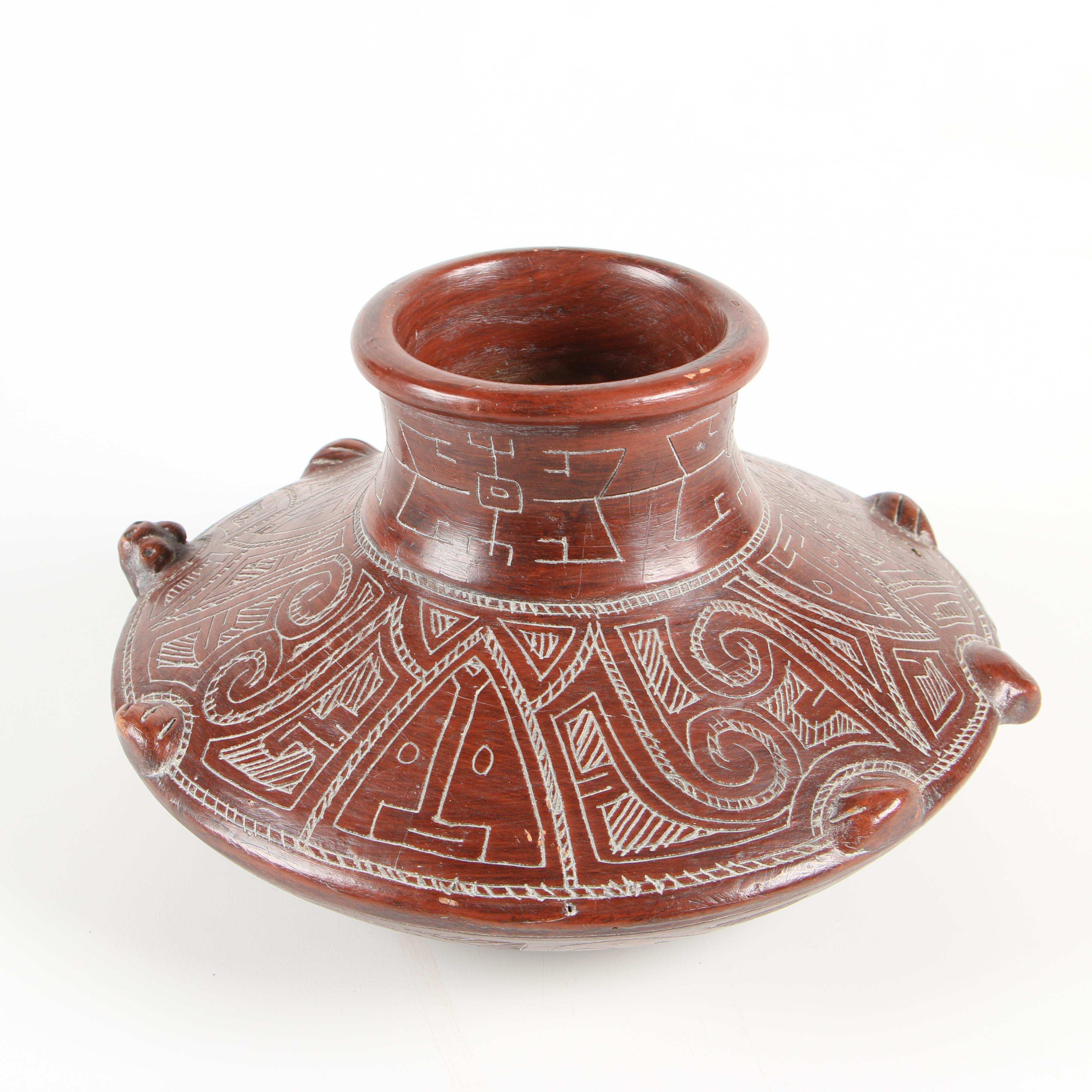 South American Style Sgraffito Earthenware Vase