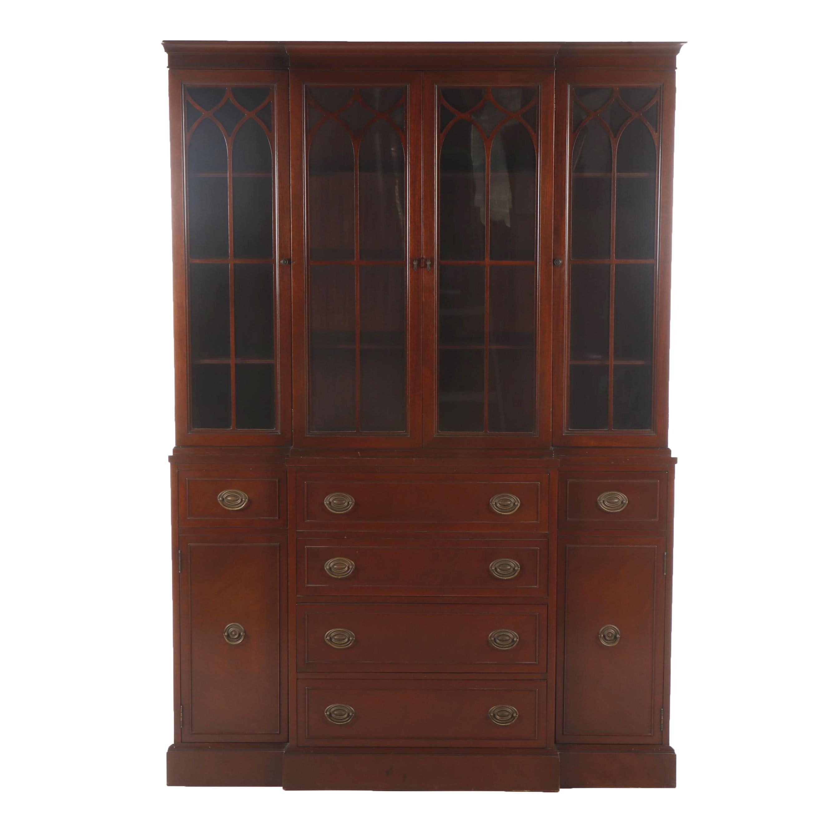 Rway Federal Style Mahogany Drop Front Secretary Desk with Cabinet