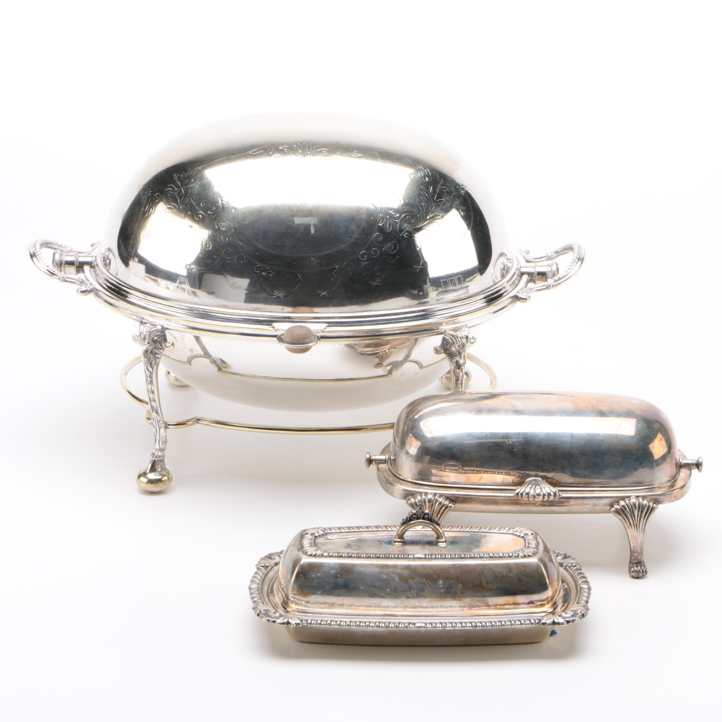 Hukin & Heath Silver Plate Breakfast Dish with American Butter Dishes