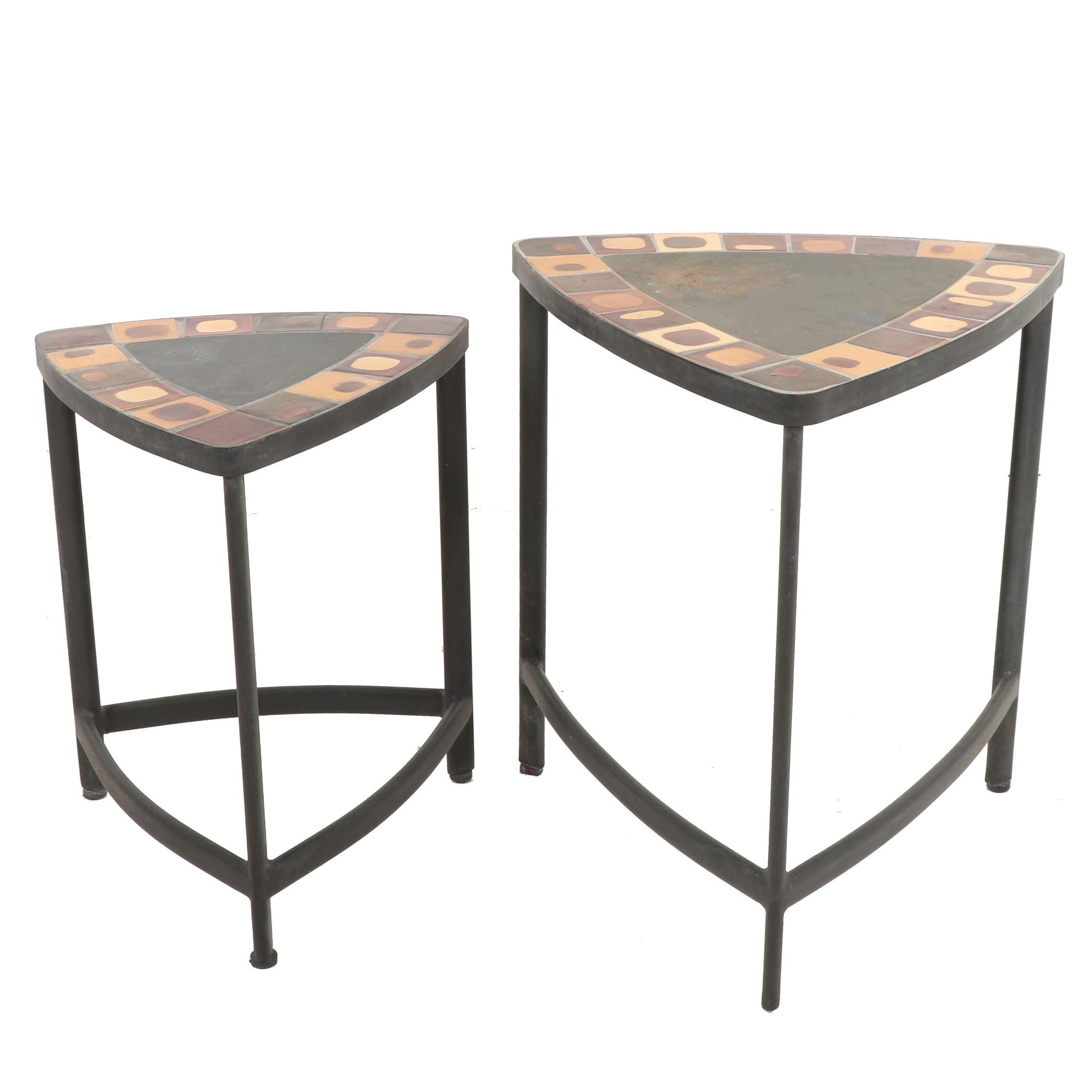 Pair of Contemporary Glazed Tile Top and Steel Base Triangular Side Tables