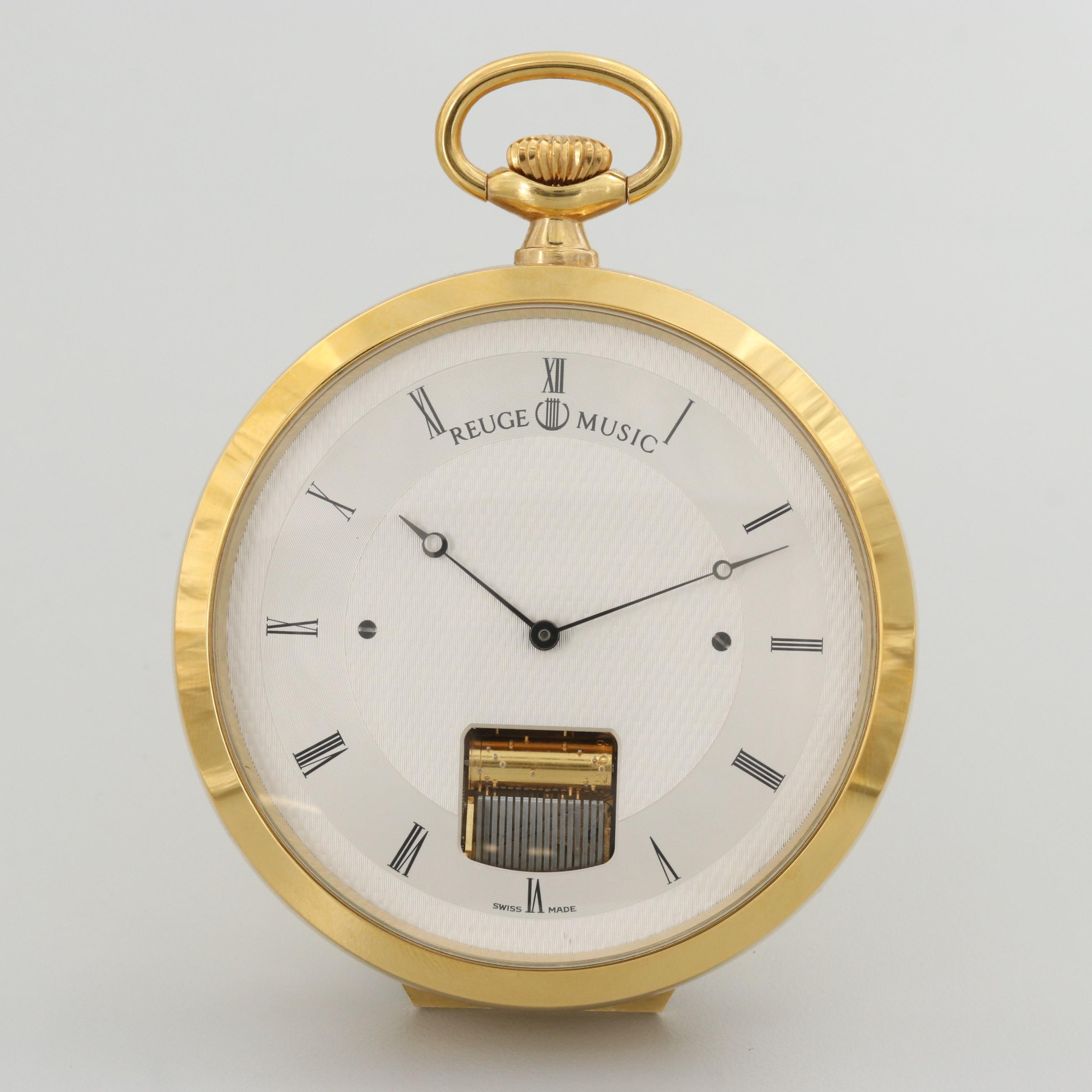Reuge Keyless Musical Gold Tone Pocket Watch