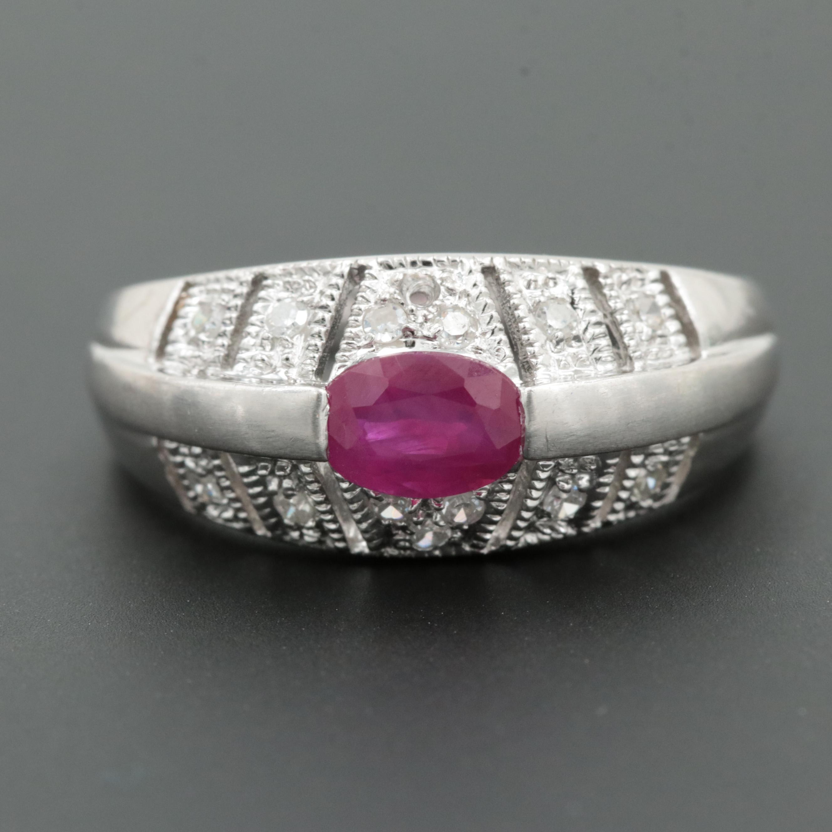Vintage 14K White Gold Ruby and Diamond Openwork Ring with Milgrain Detail