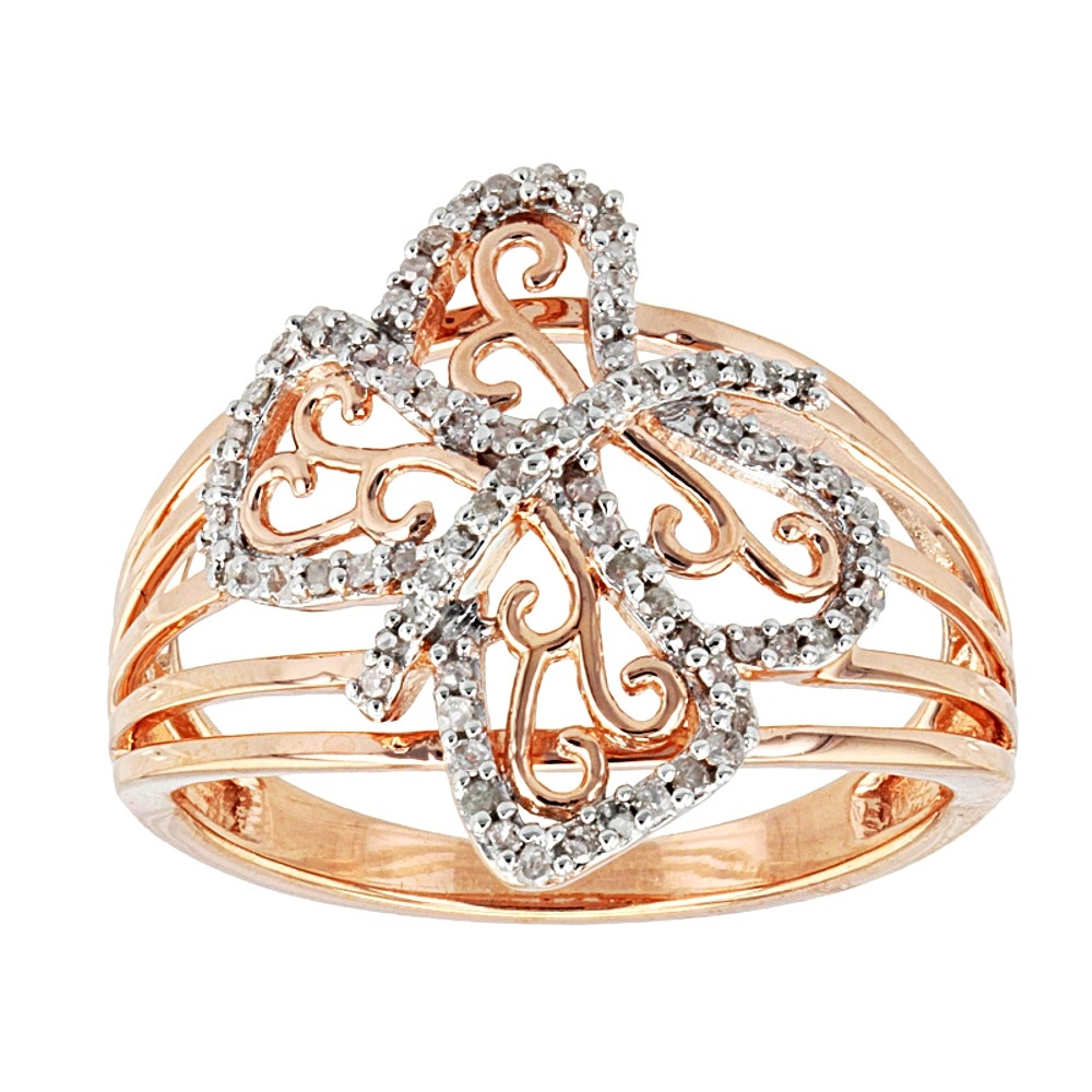 Rose Gold Wash on Sterling Silver Diamond Ring