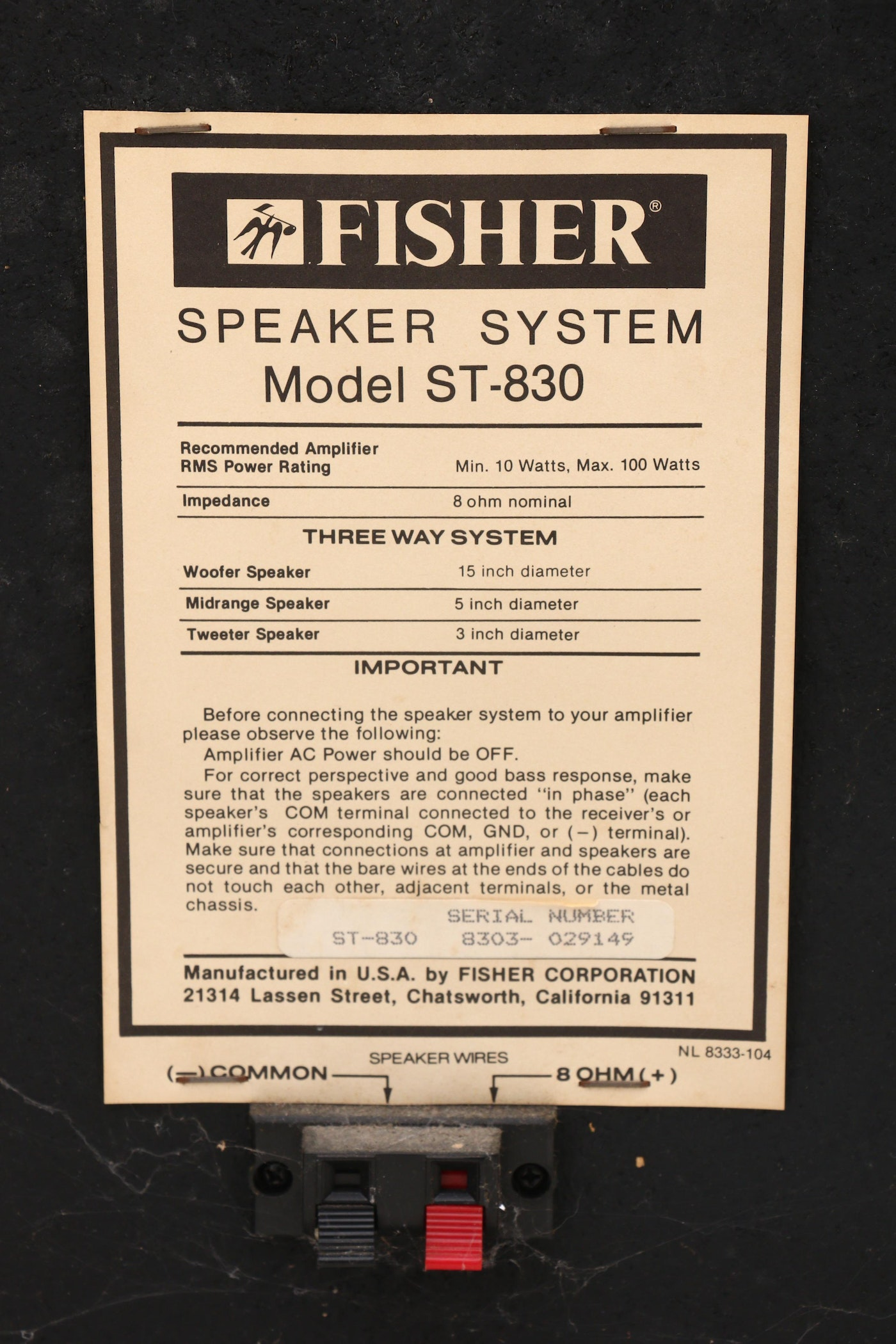 Fisher Auto Sales >> Fisher ST-830 Speakers | EBTH