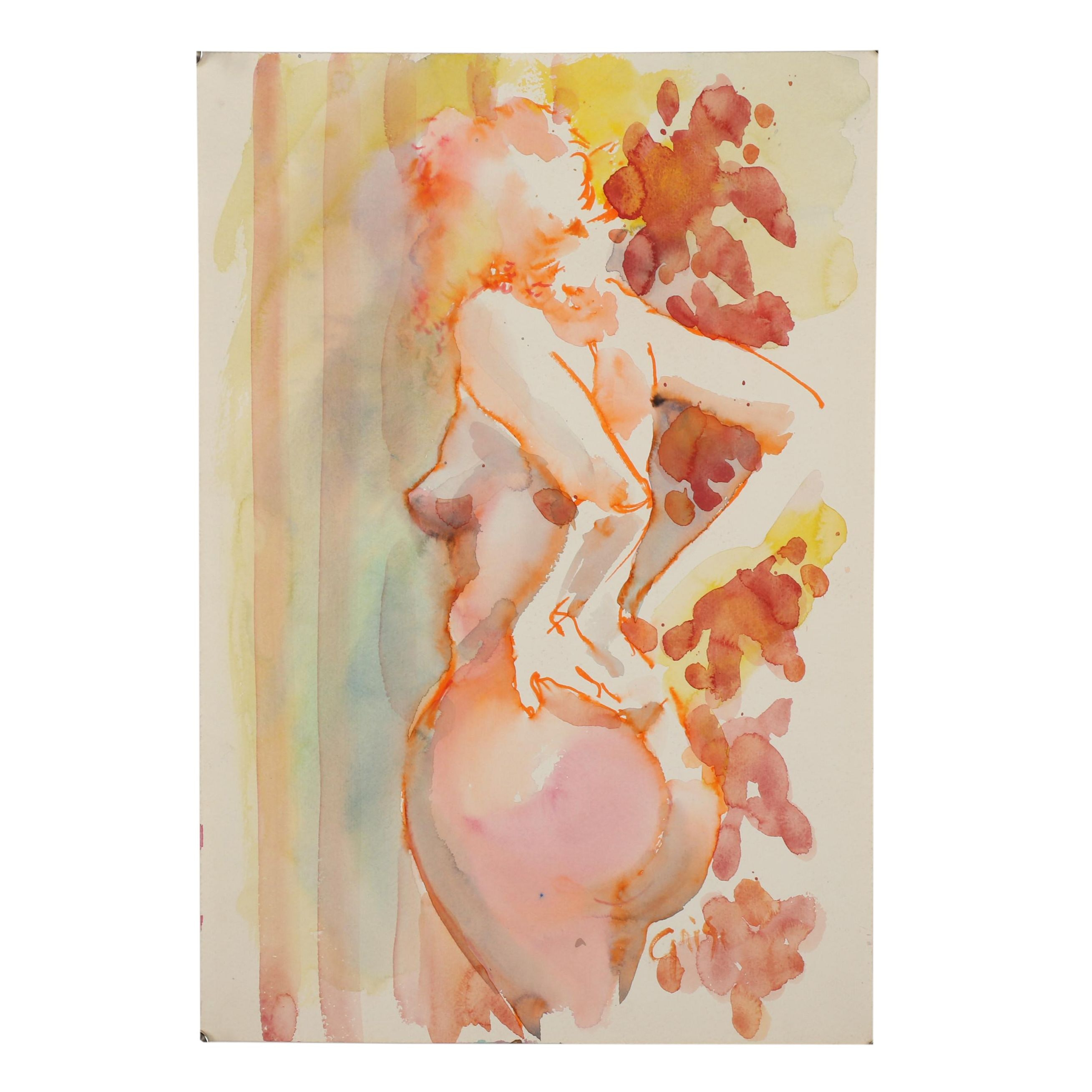 Hendrik Grise Abstract Figural Watercolor Painting