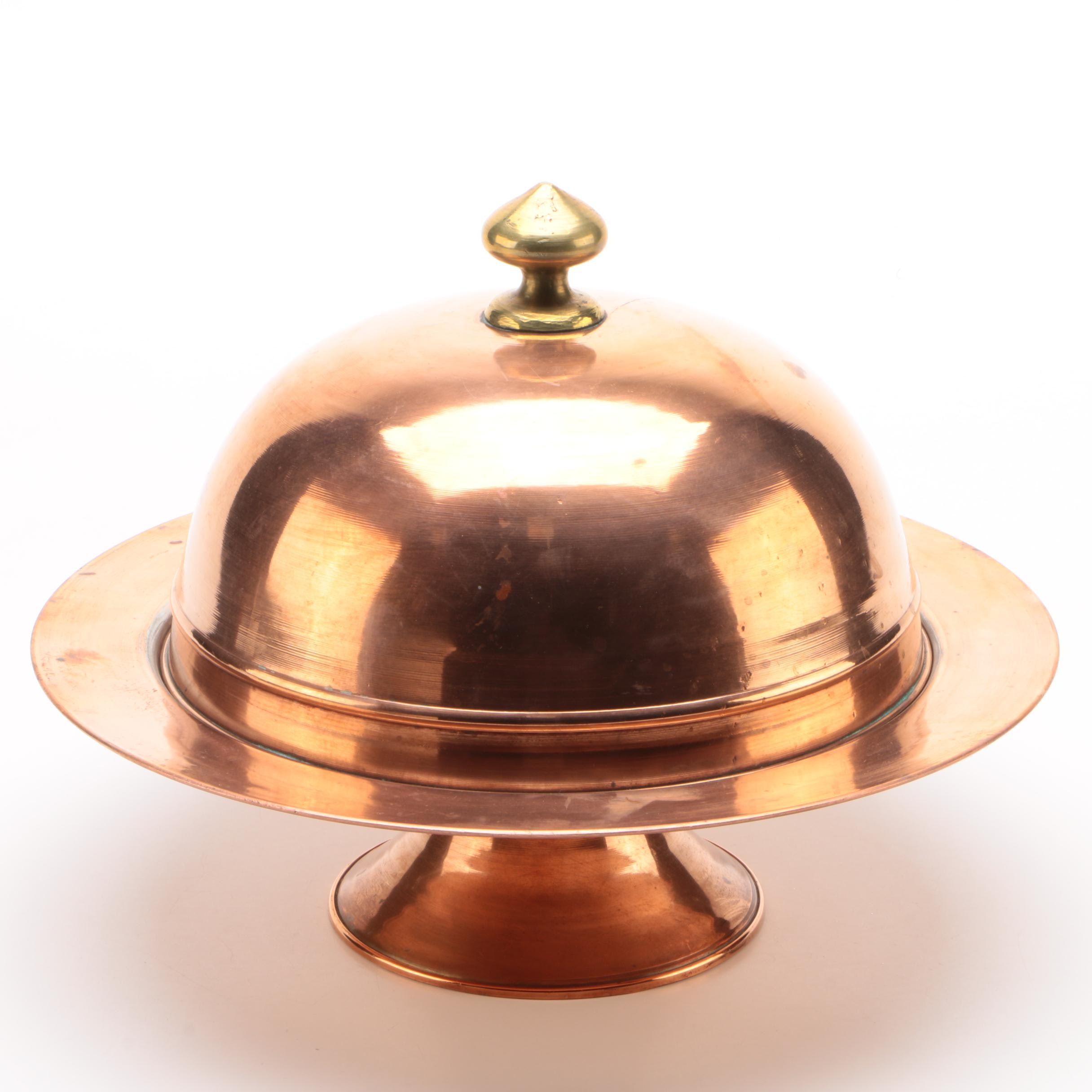 Copper Plate Compote with Dome Lid