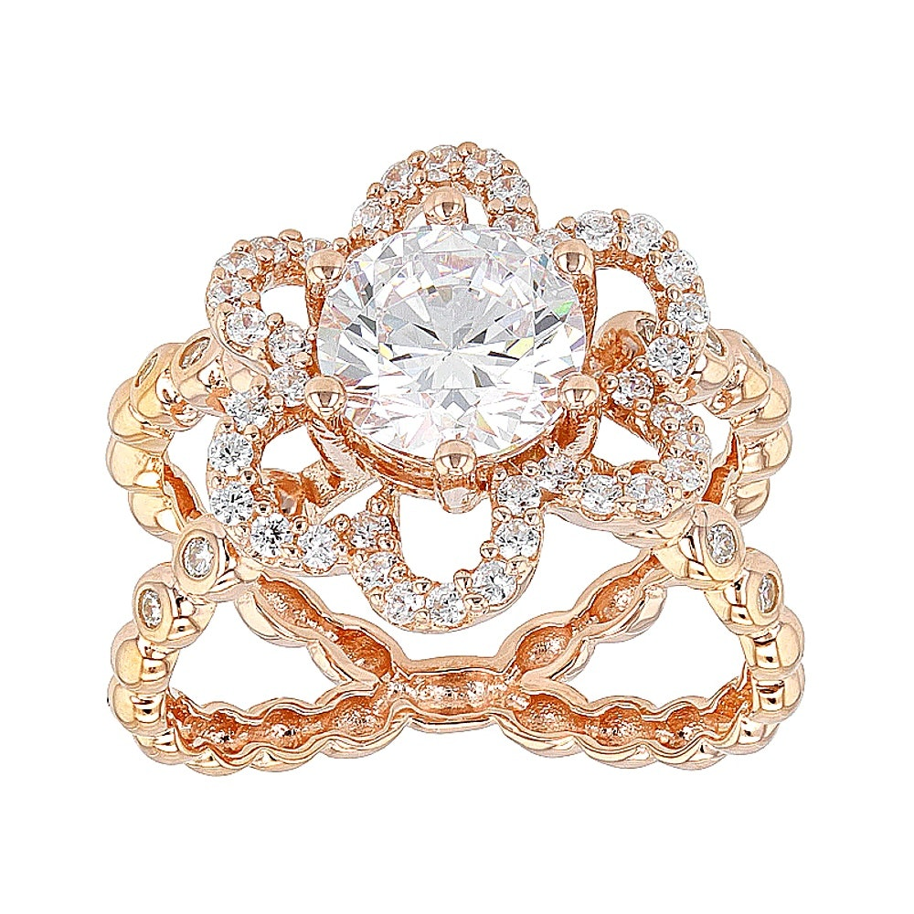 Rose Gold Wash on Sterling Silver Diamond Simulant Ring