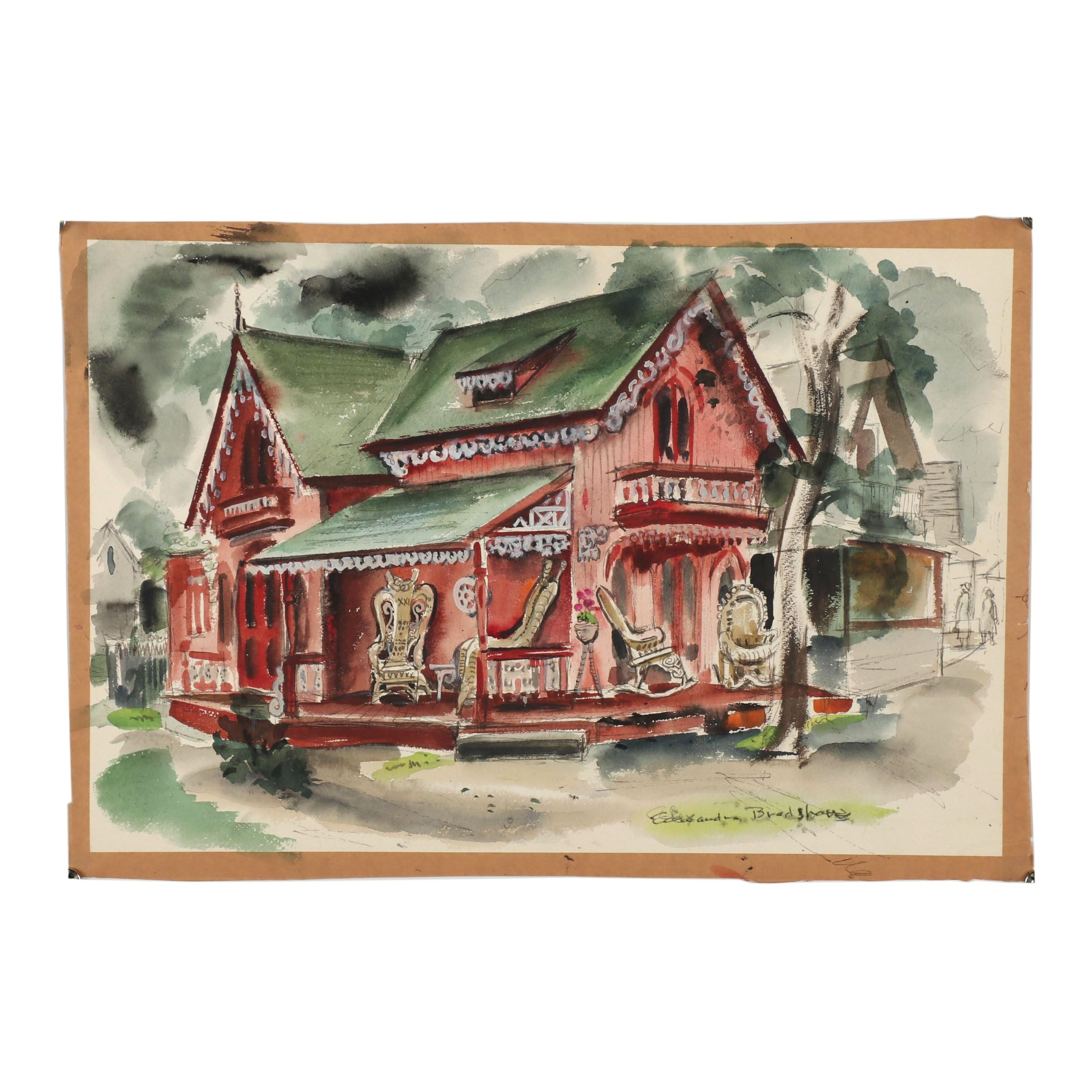 Alexandra Bradshaw Watercolor Painting of a House