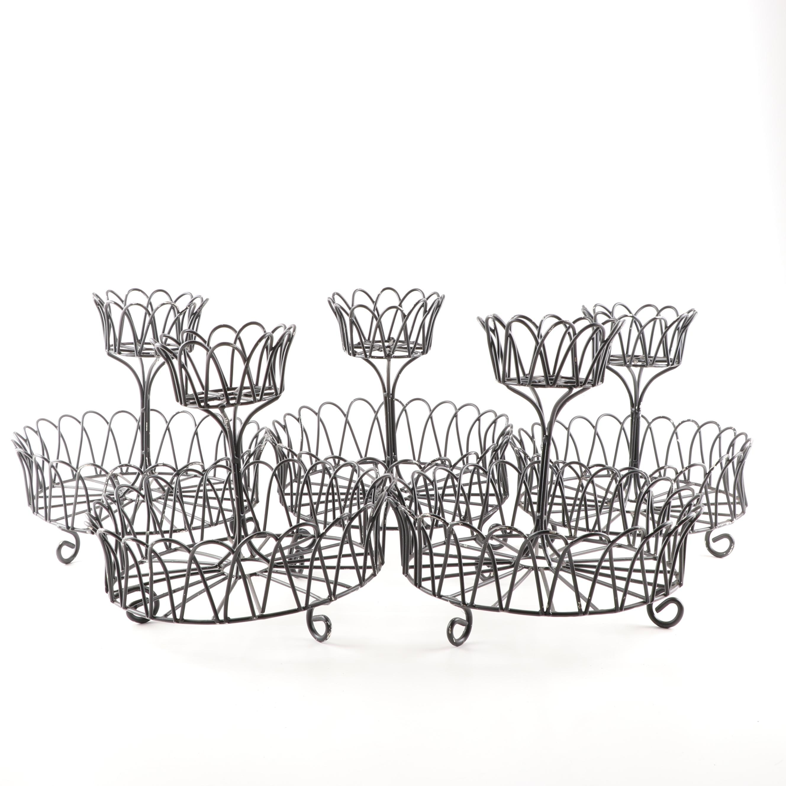 Grouping of Five Decorative Wire Fruit Stands