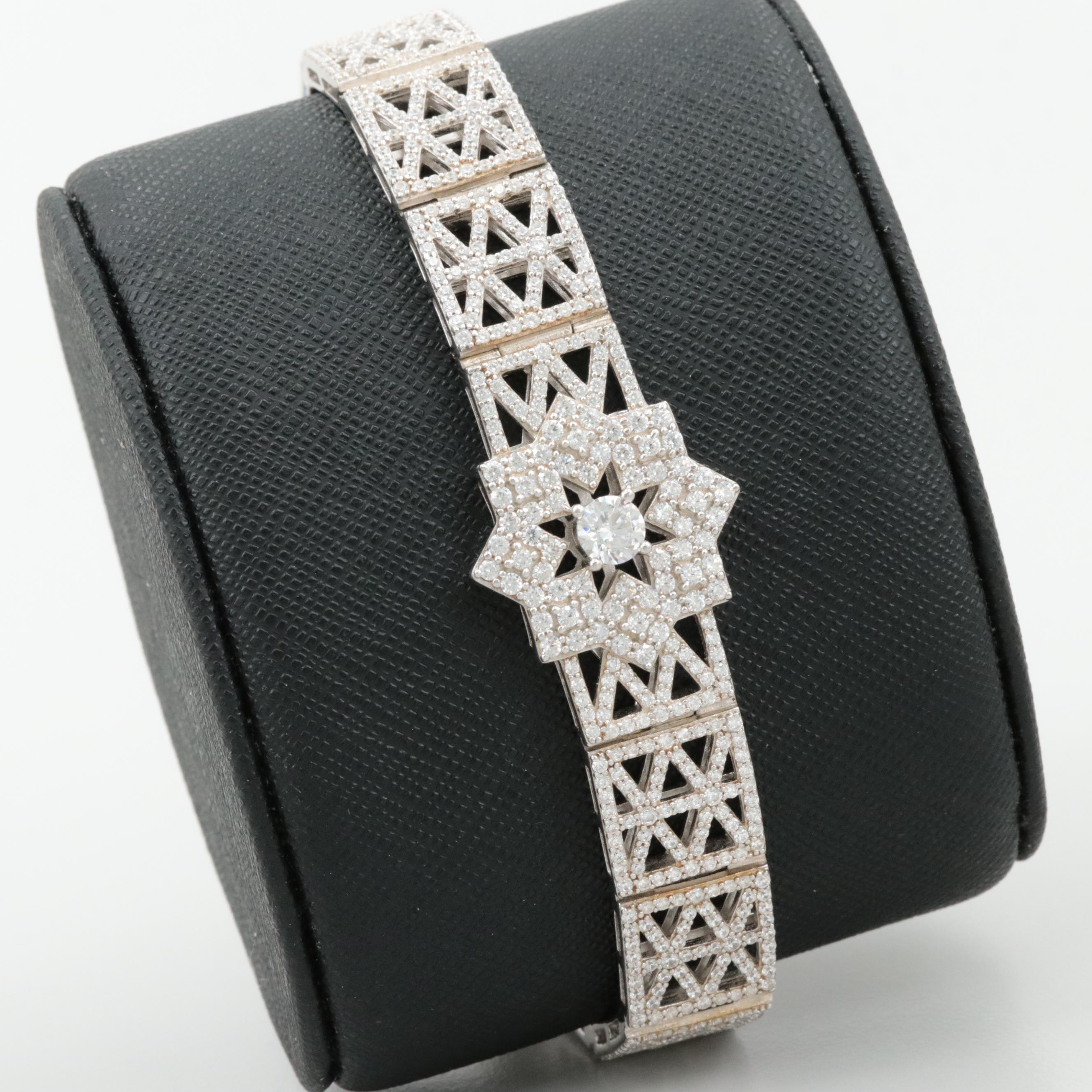 Sterling Silver Cubic Zirconia Eight Point Star Link Bracelet