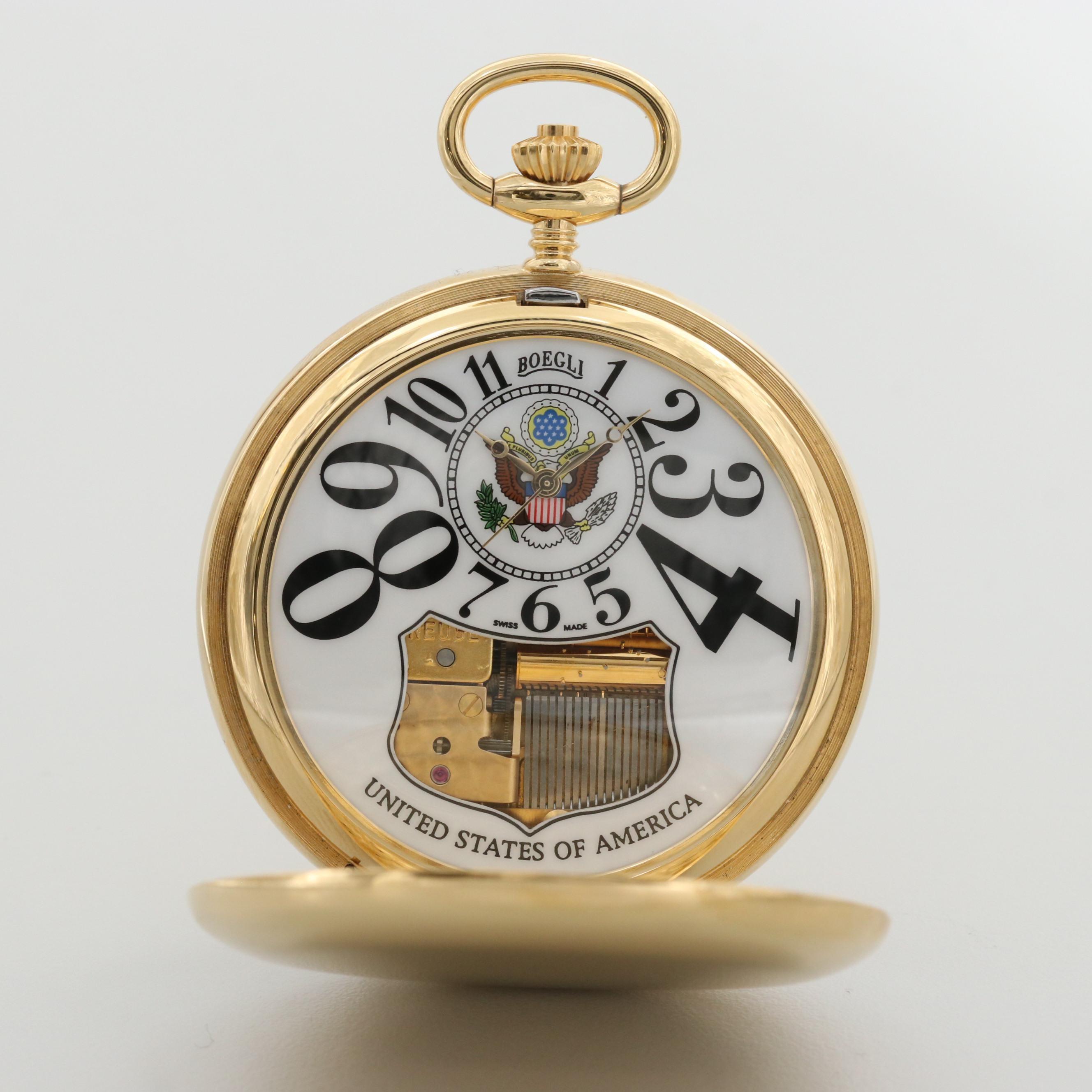 Boegli Swiss Musical Pocket Watch Honoring The United States