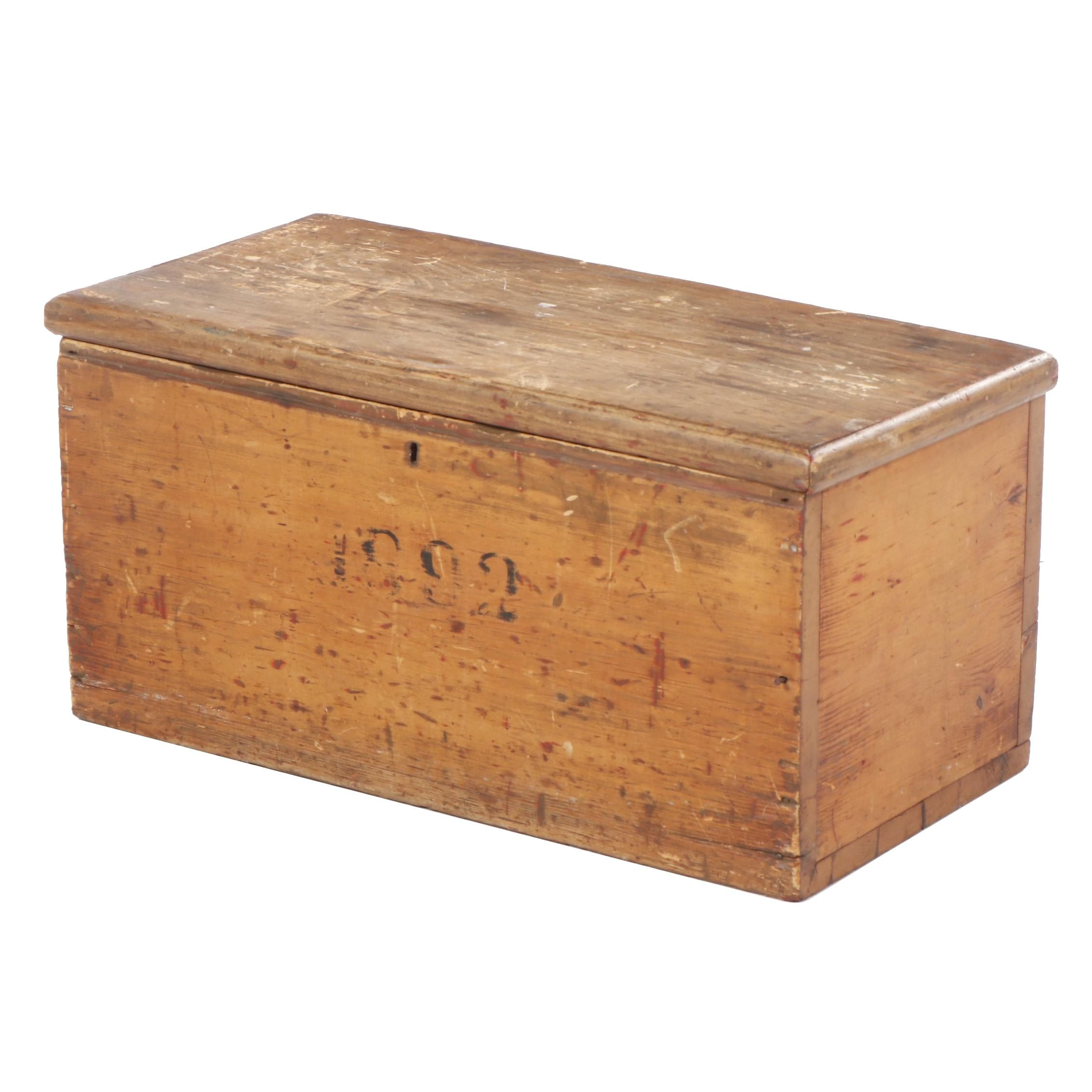 American Primitive Pine Storage Chest, Dated 1892