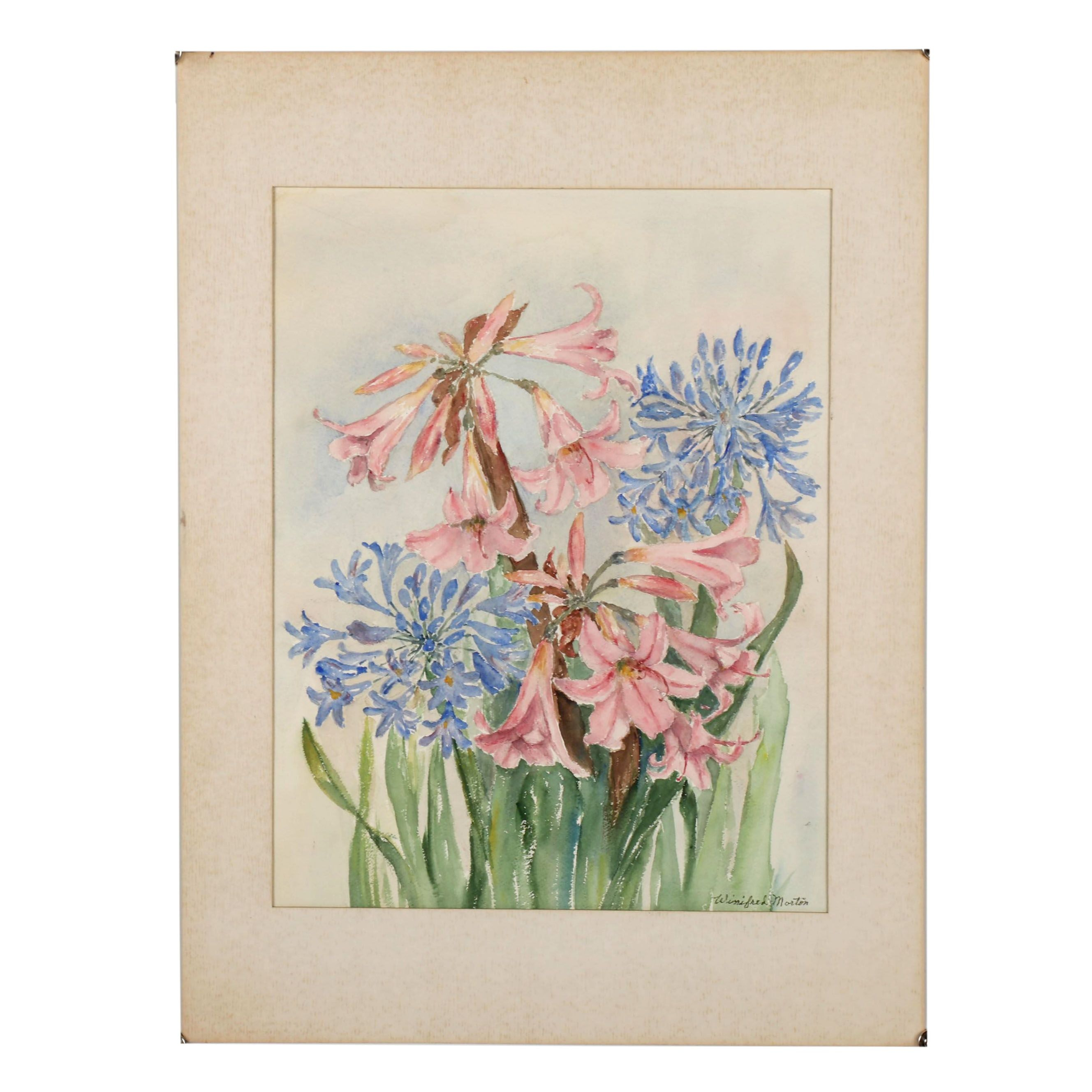 Late 20th Century Floral Watercolor Painting