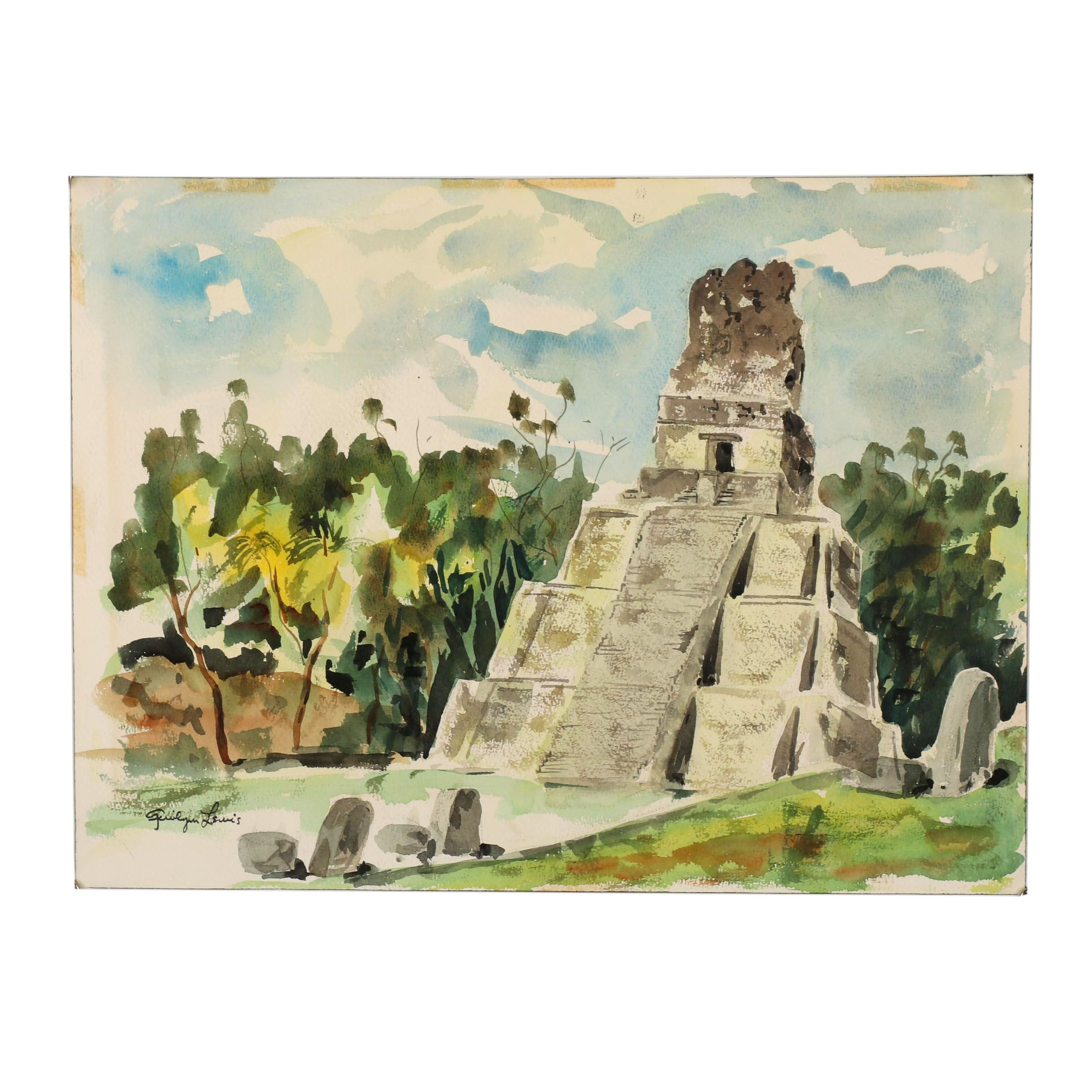 20th Century Watercolor Painting of Ruins