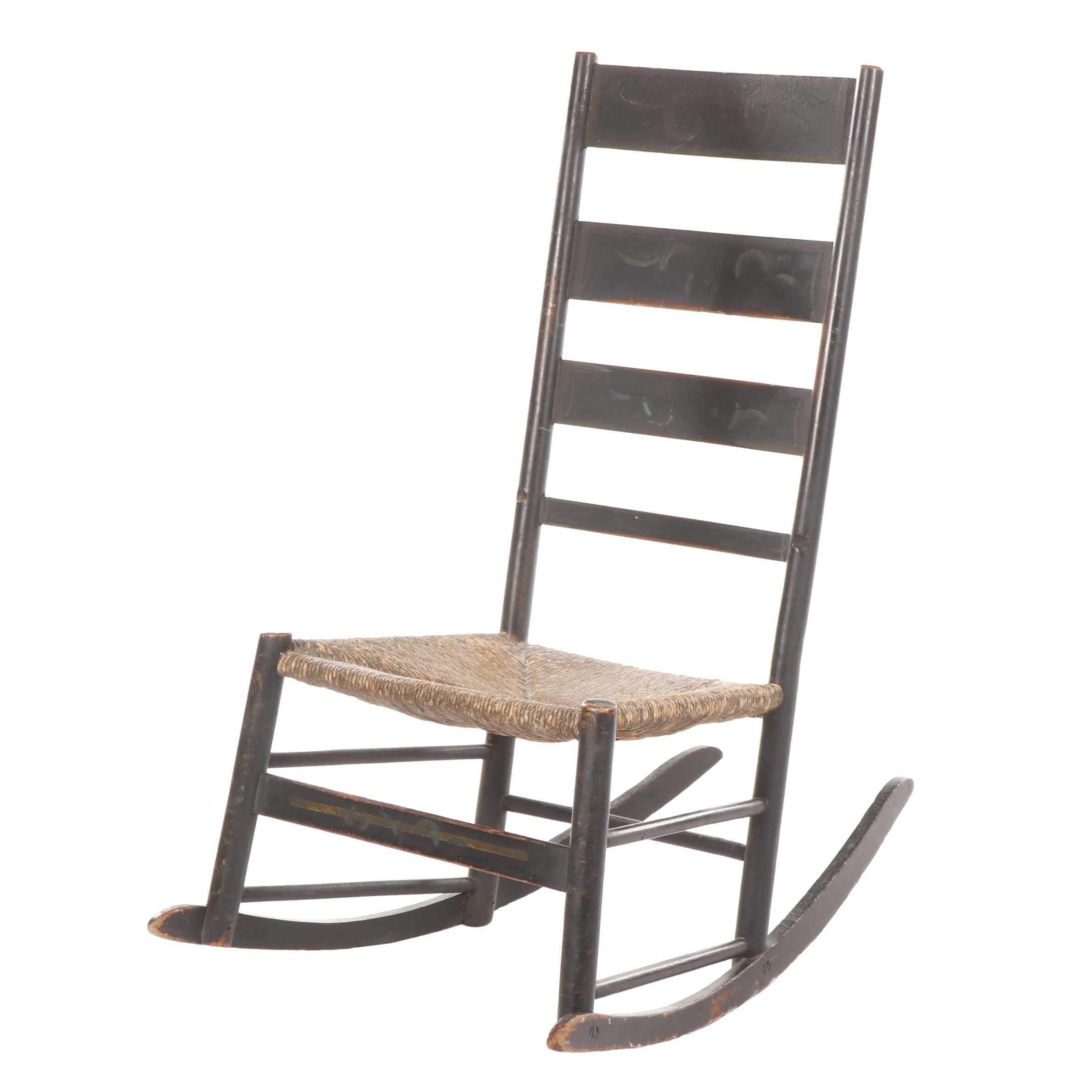 Paint-Decorated Ebonized Wooden Rocking Chair with Rush Seat, 19th Century