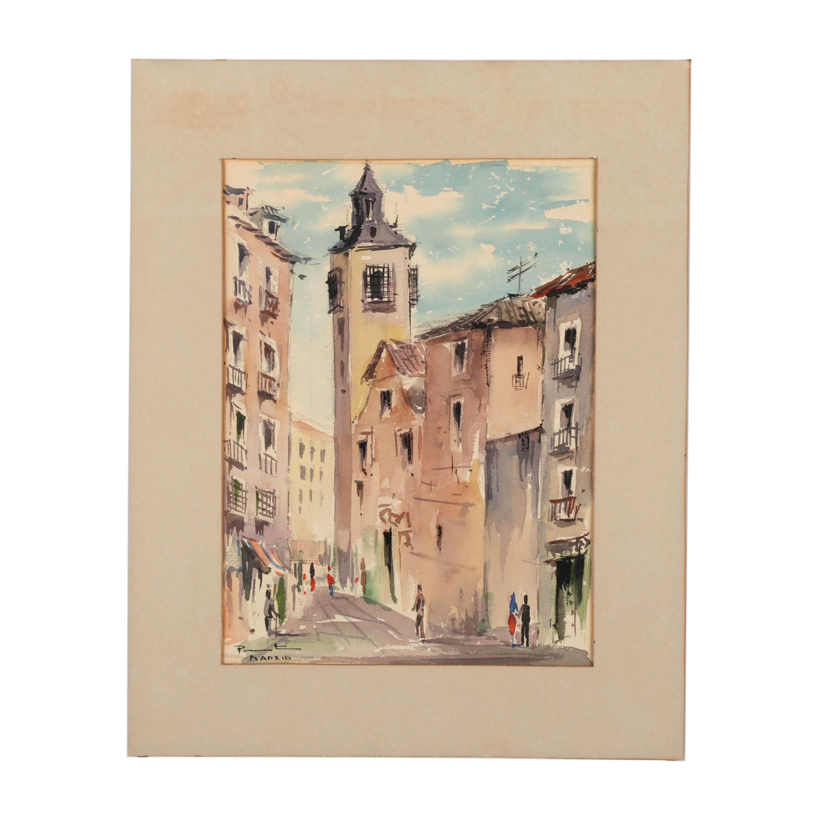 Early 20th Century Cityscape Watercolor Painting