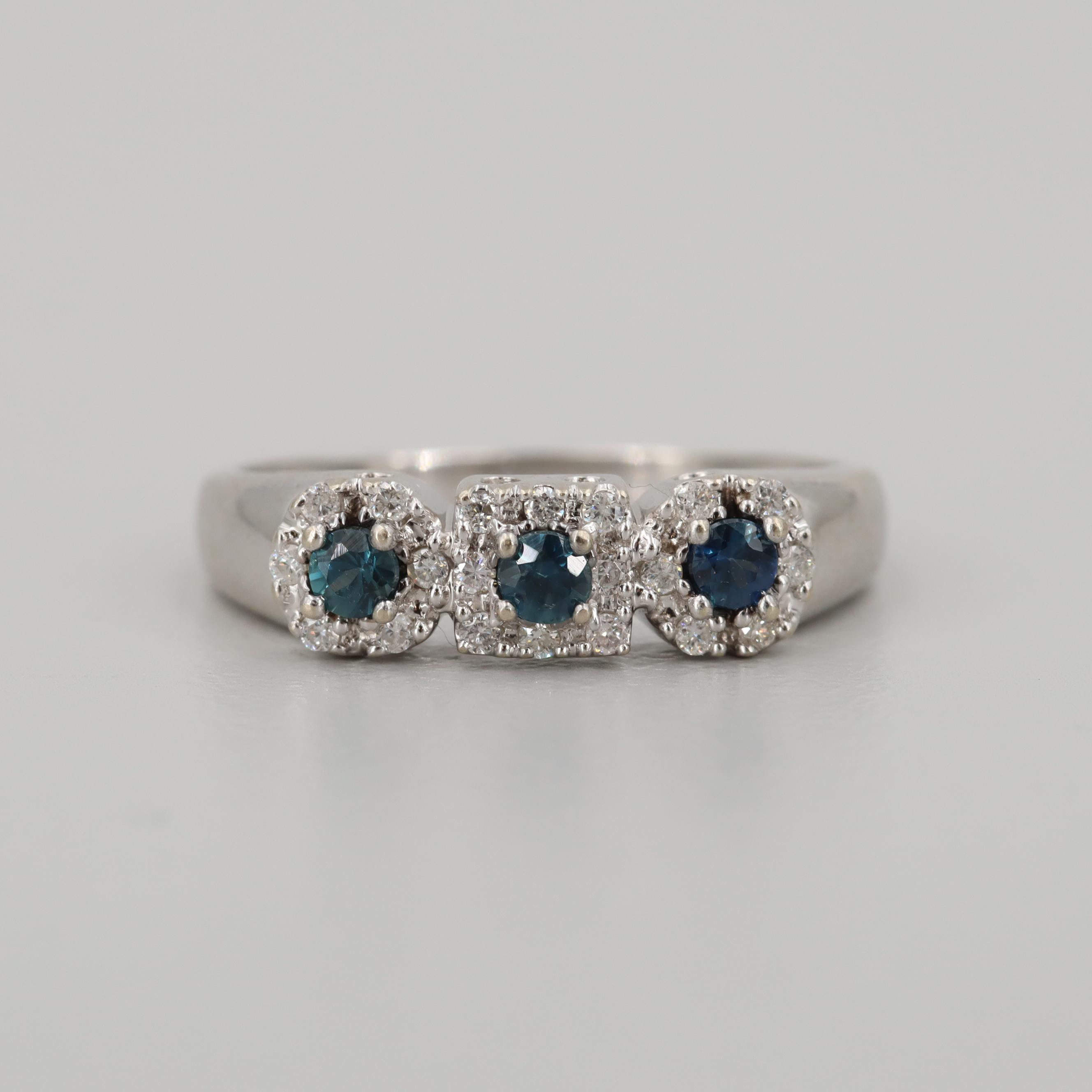14K White Gold Blue Sapphire and Diamond Band