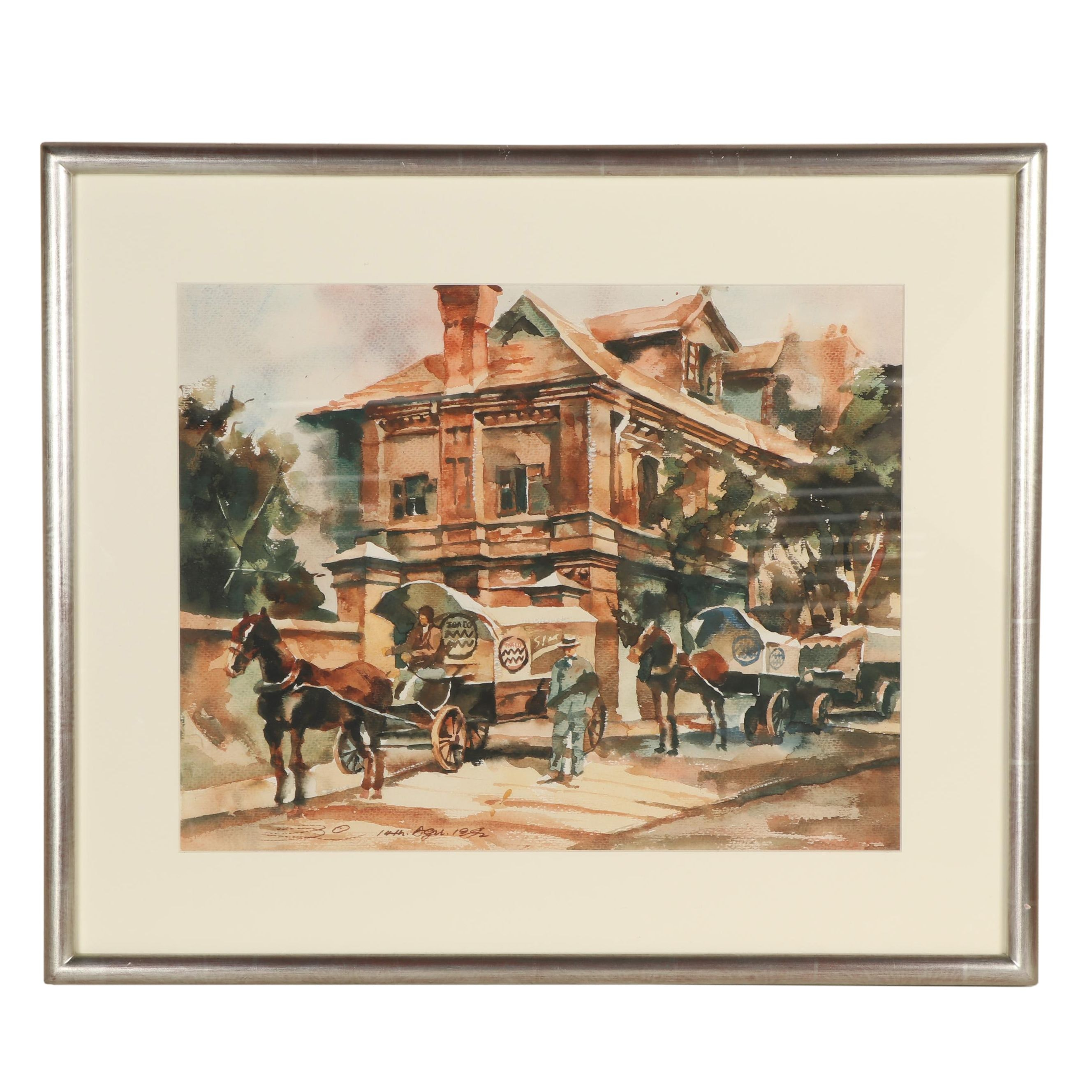 Horse Drawn Carriage Watercolor Painting