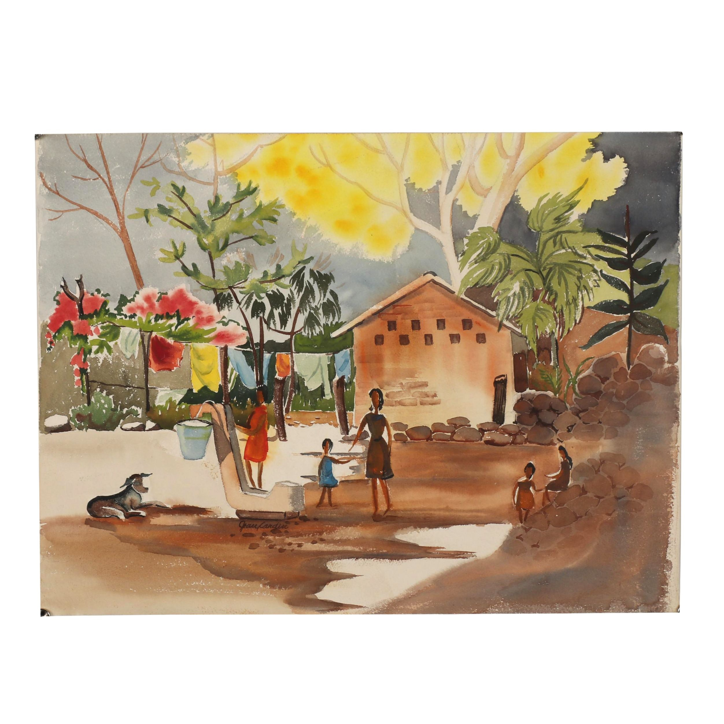 20th Century Genre Watercolor Painting