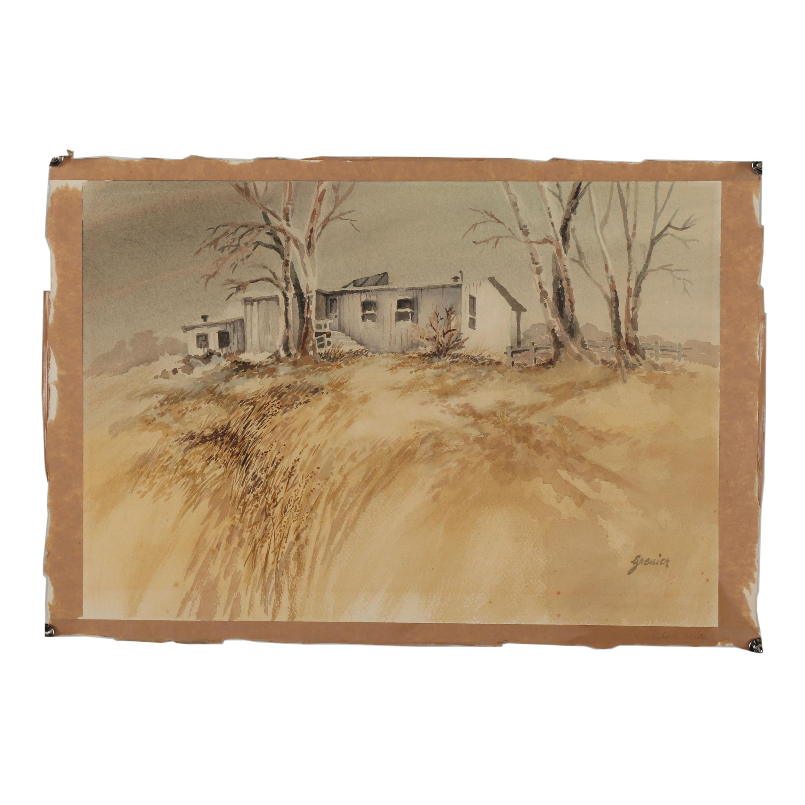 Early 20th Century Landscape Watercolor Painting