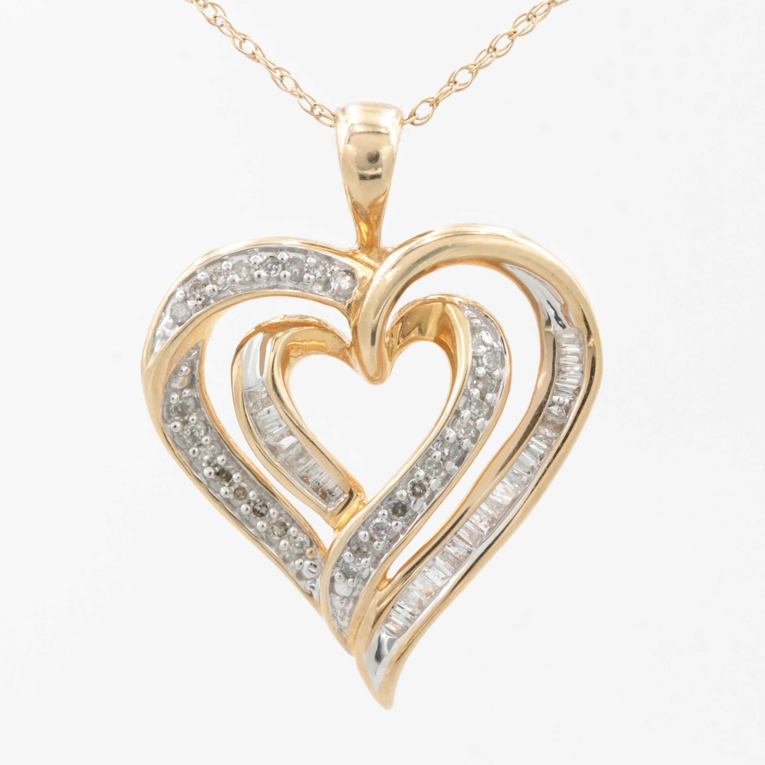 10K Yellow Gold Diamond Heart Necklace