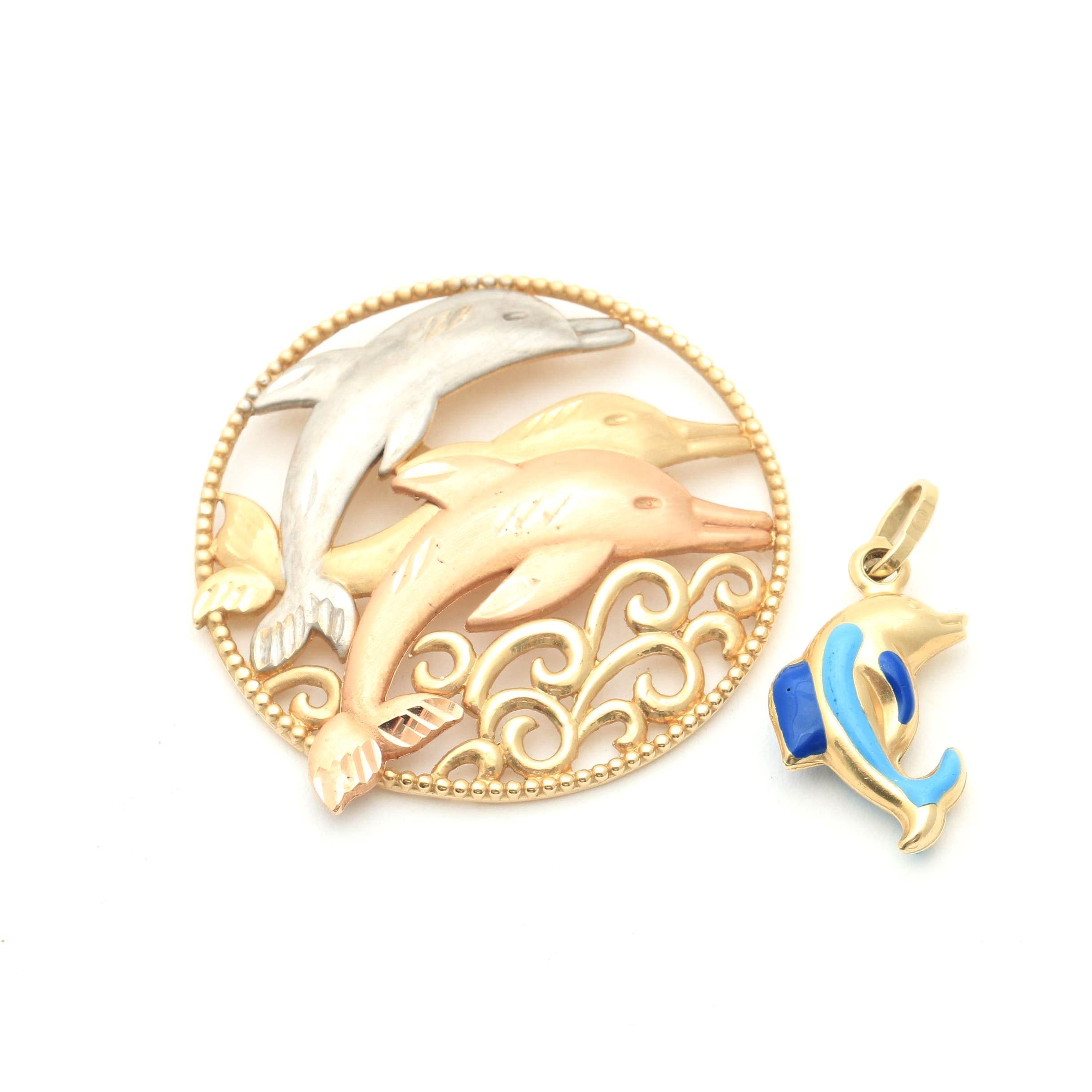 14K Yellow Gold Dolphin Pendants