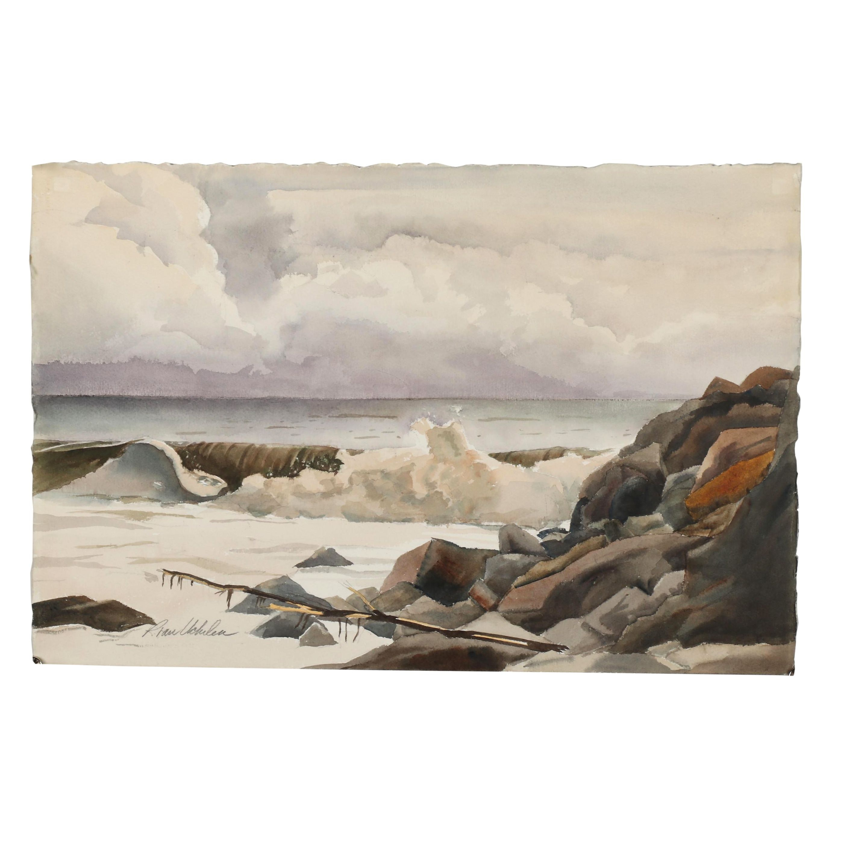 "Late 20th Century Watercolor Painting ""After the Storm"""
