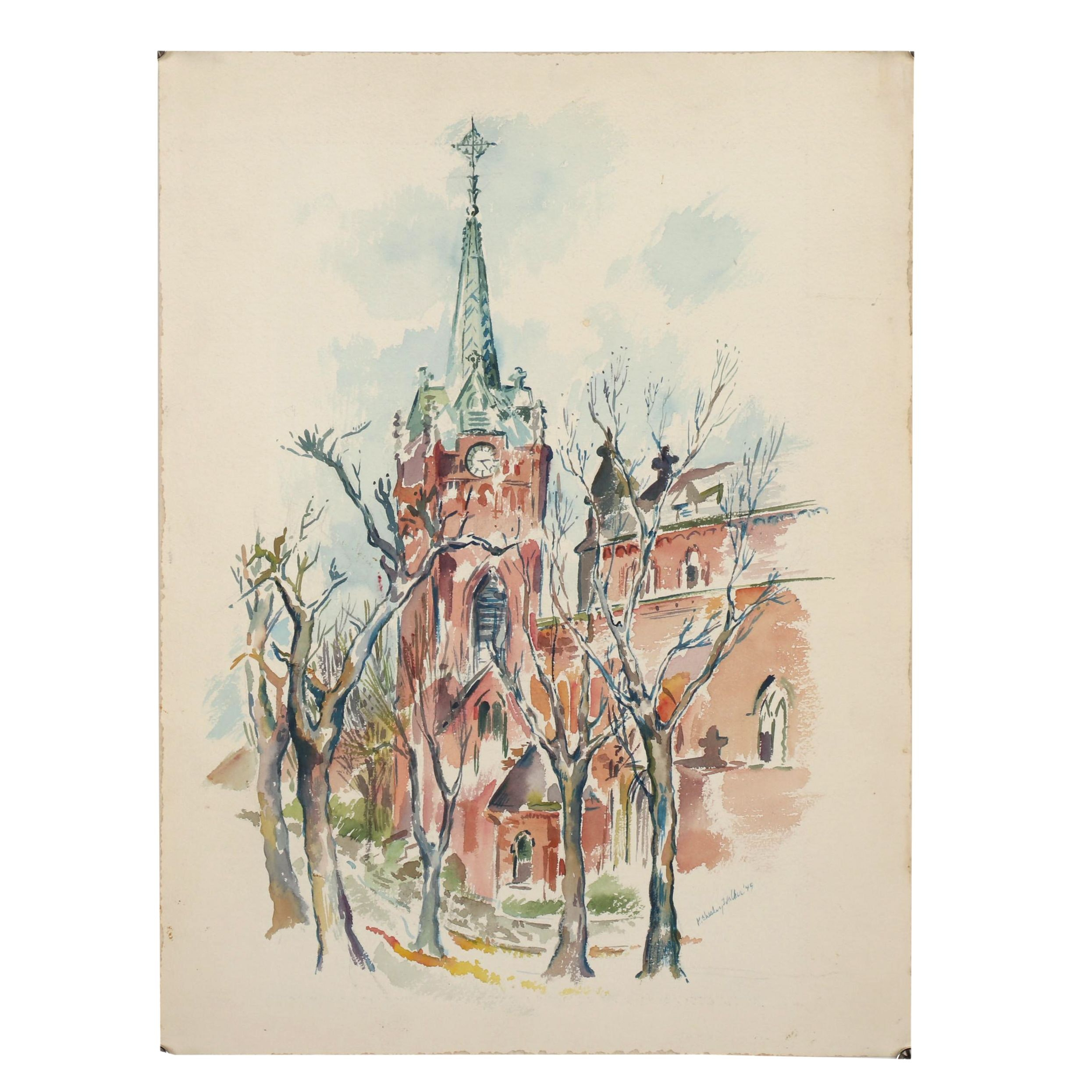 Mid 20th Century Architectural Watercolor Painting