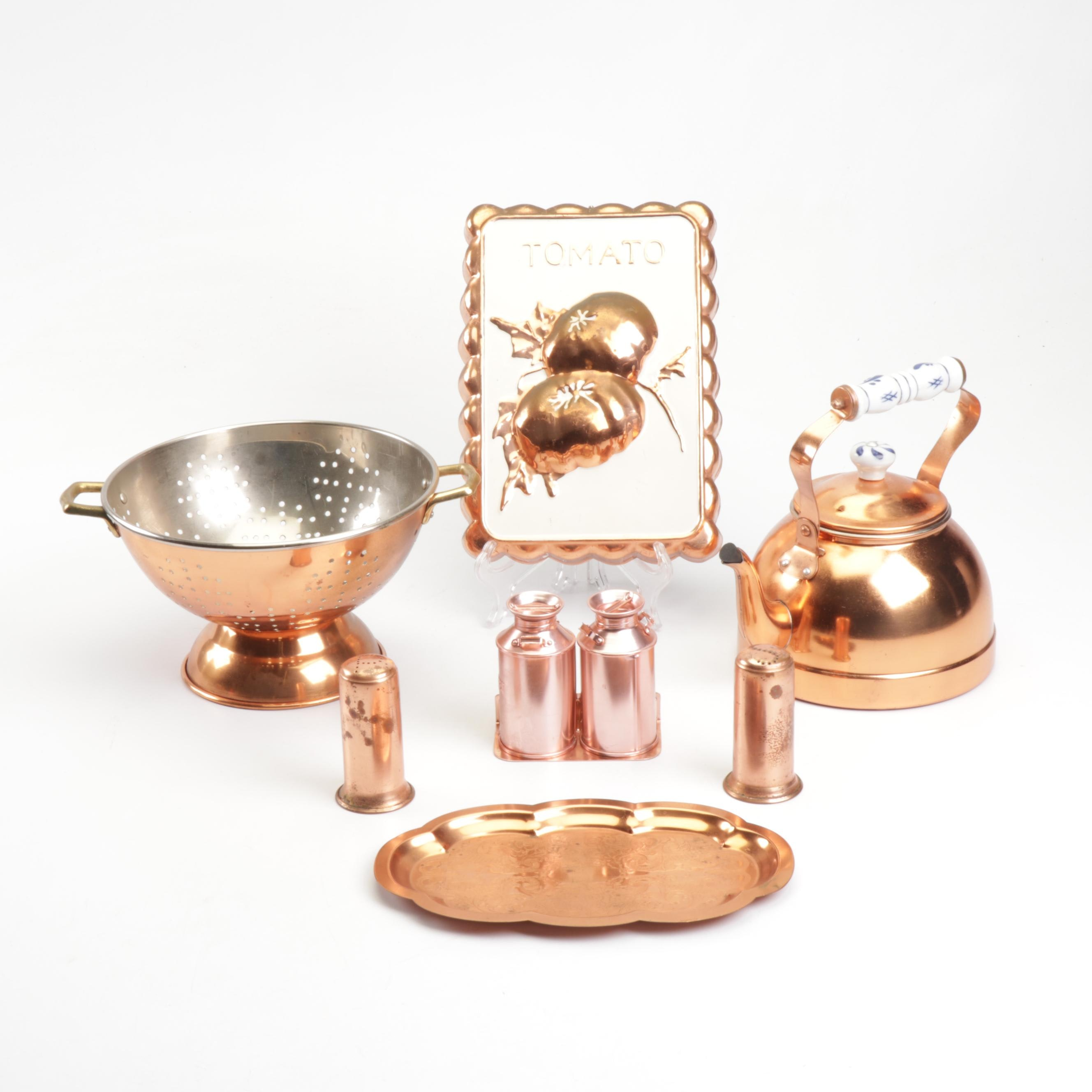 Copper and Plated Kitchenware and Decor Including Colander and Tea Kettle