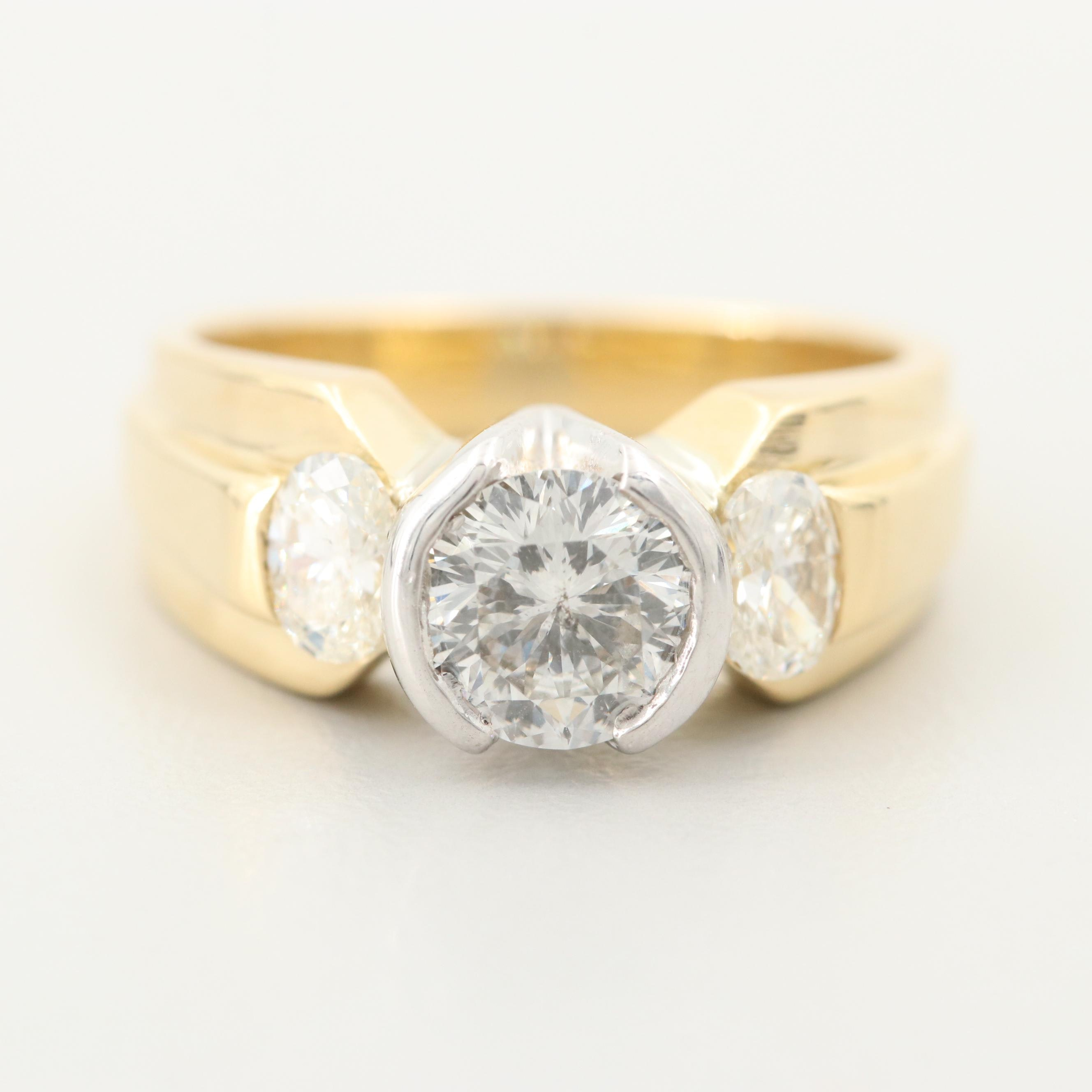 18K Yellow Gold 1.50 CTW Diamond Ring with White Gold Accents and Euro Shank
