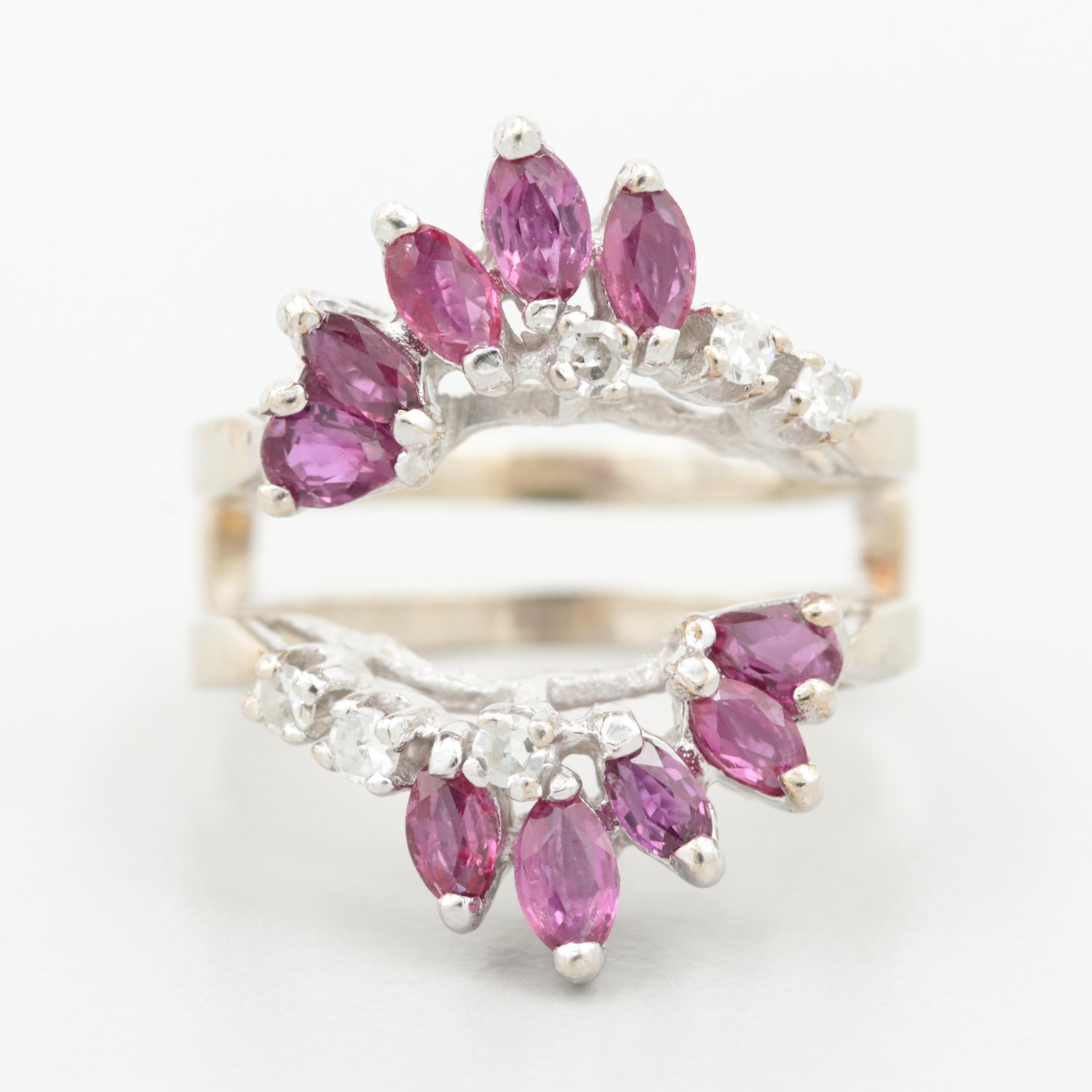 Vintage 14K White Gold Ruby and Diamond Enhancer Ring
