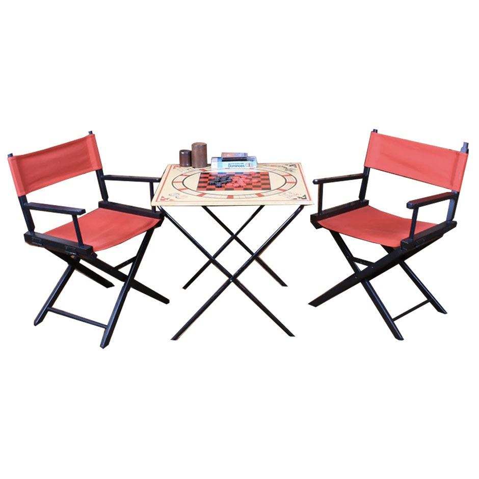 Collapsible Game Table and Pair of Director's Chairs