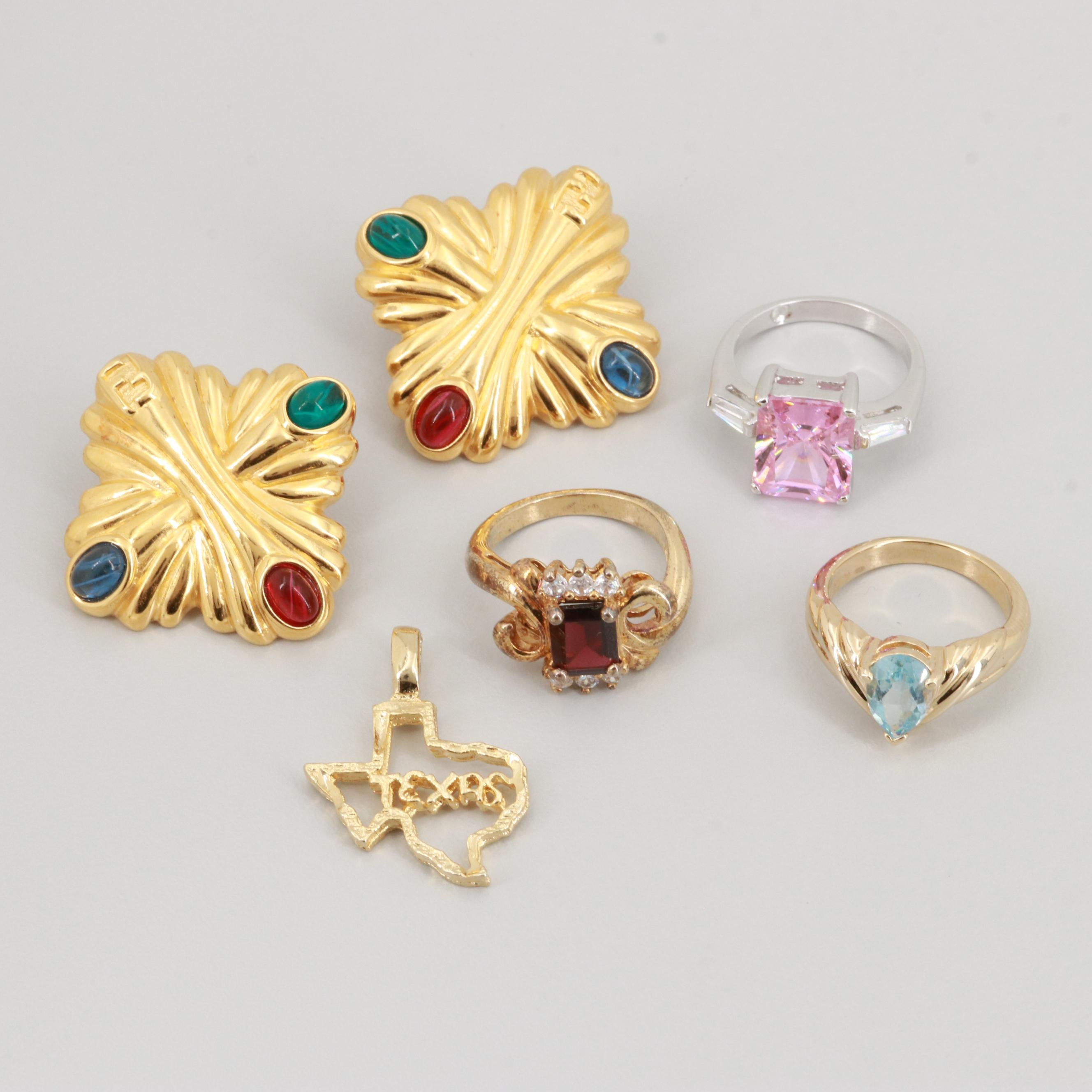 Topaz, Garnet and Cubic Zirconia Jewelry Featuring Fendi Earrings