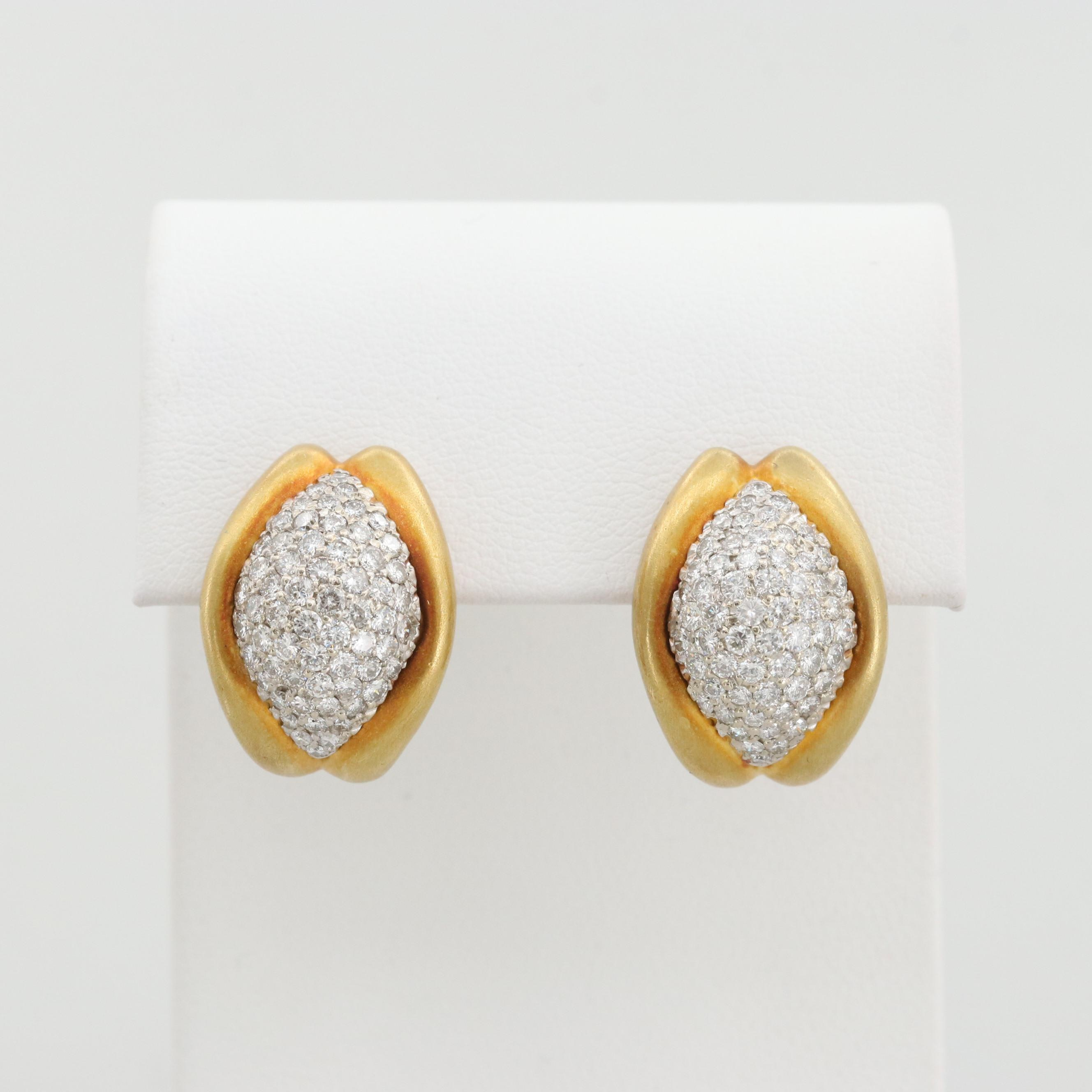 18K Yellow Gold 2.13 CTW Diamond Earrings with 14K Posts and Clips
