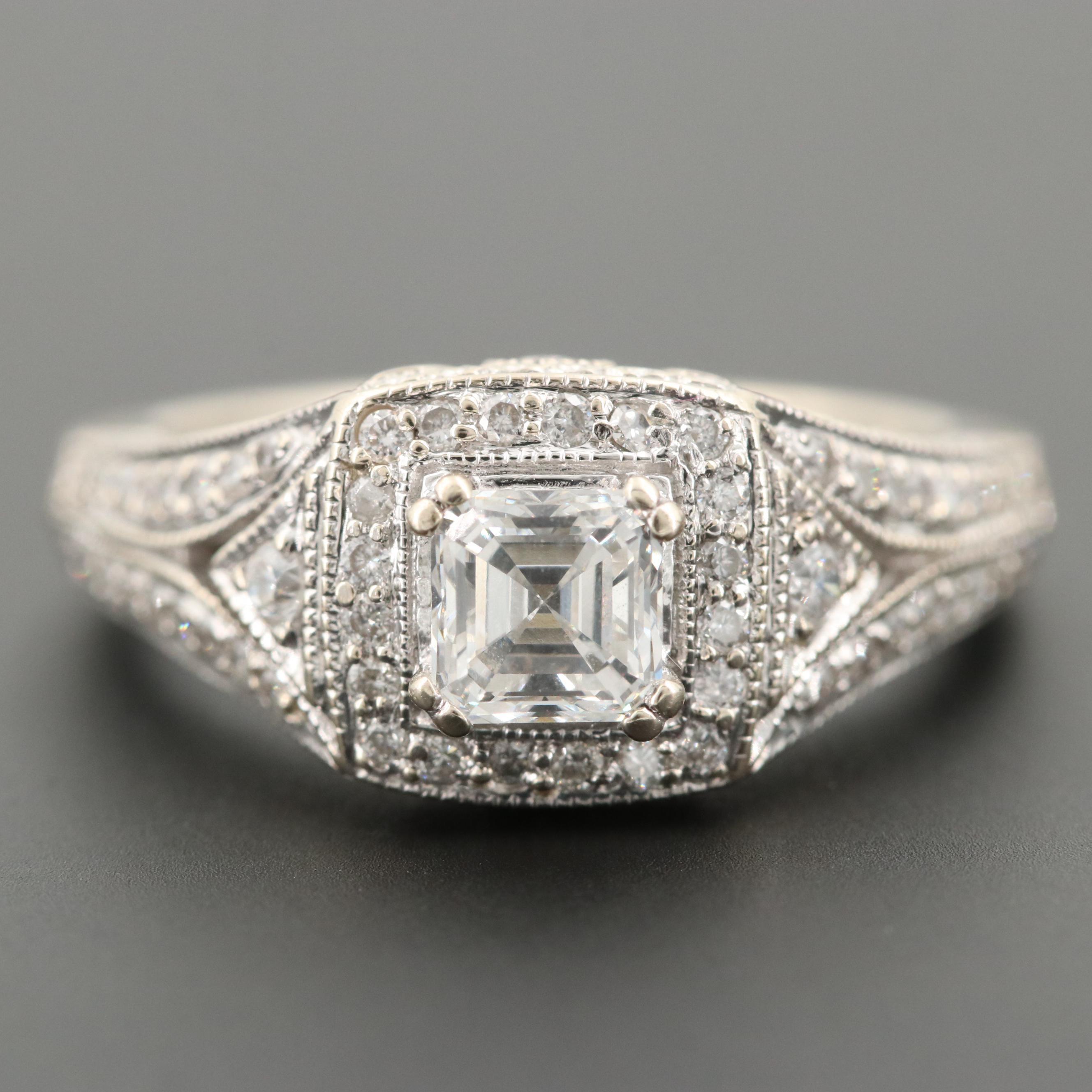 14K White Gold 1.16 CTW Diamond Ring