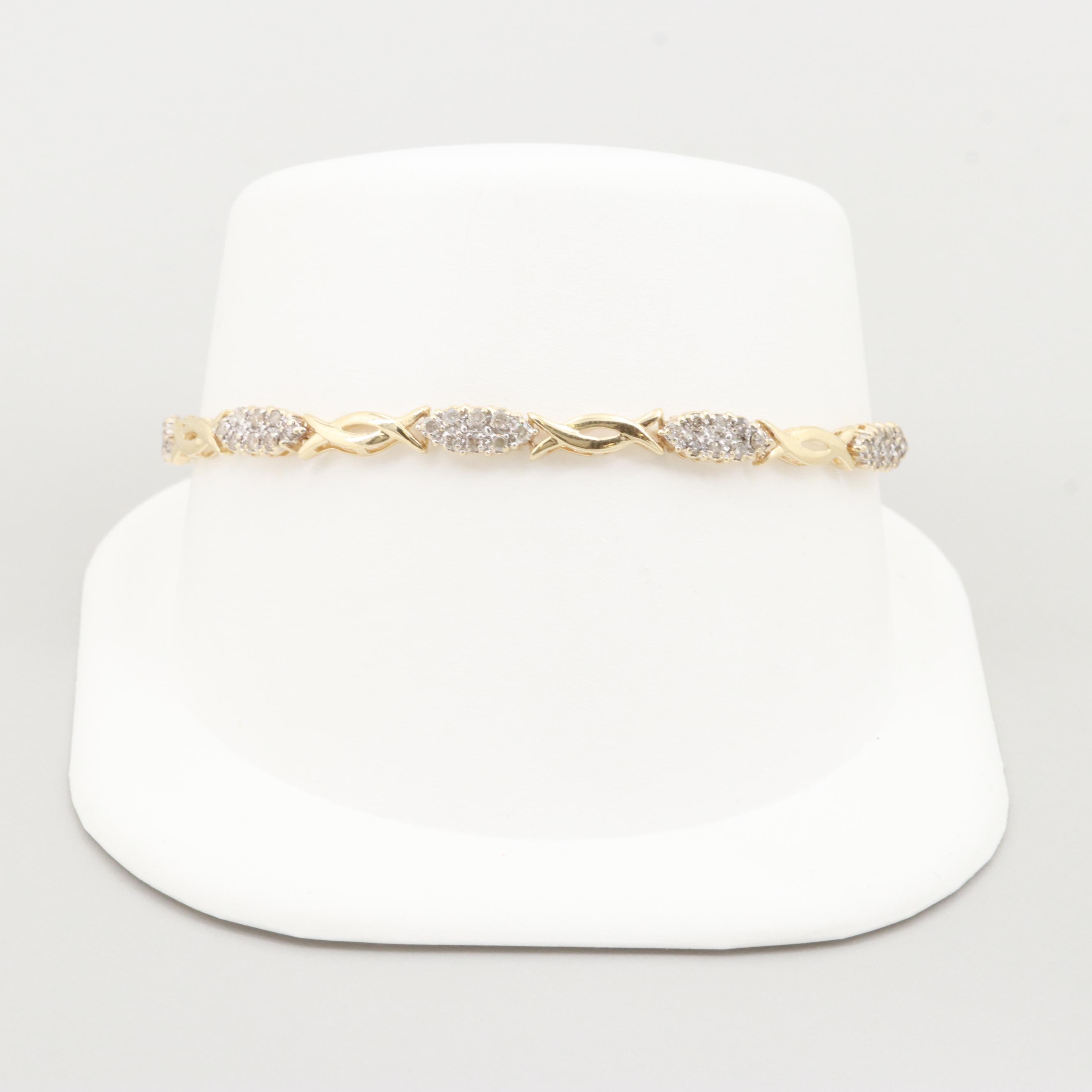 10K Yellow Gold 1.01 CTW Diamond Bracelet