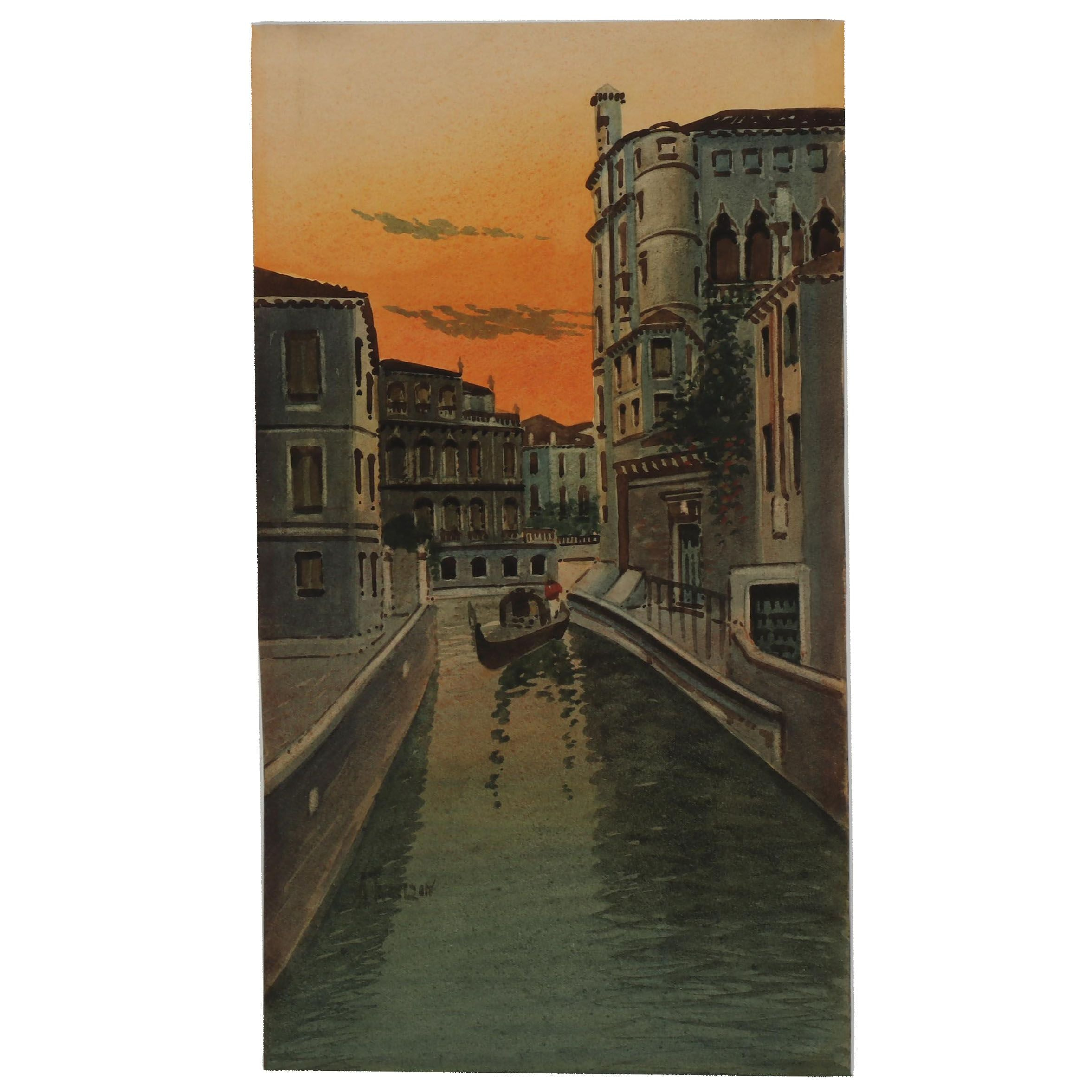 Early 20th Century Watercolor Painting of a Canal