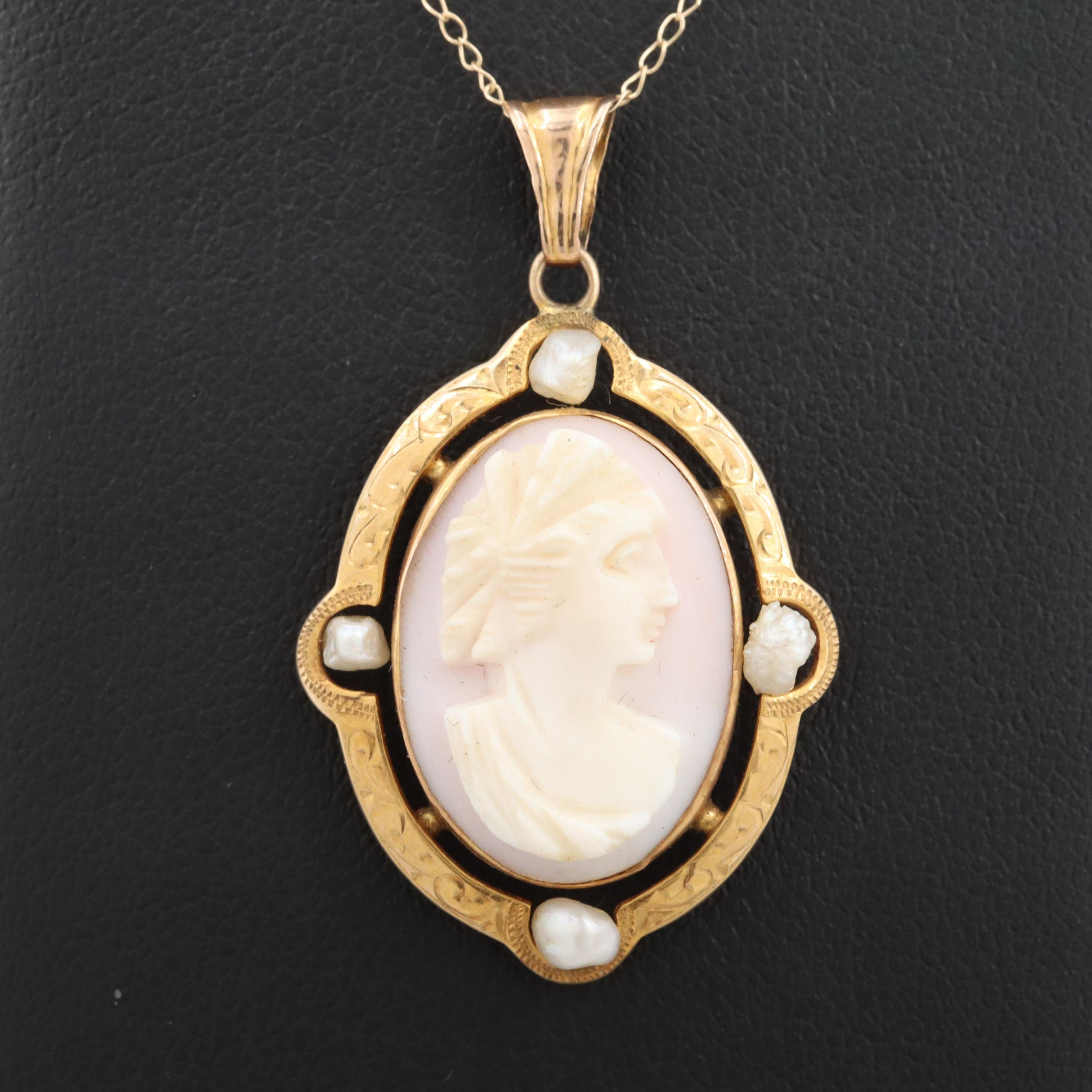 Arts and Crafts 10K Yellow Gold Conch Shell and Cultured Pearl Pendant Necklace
