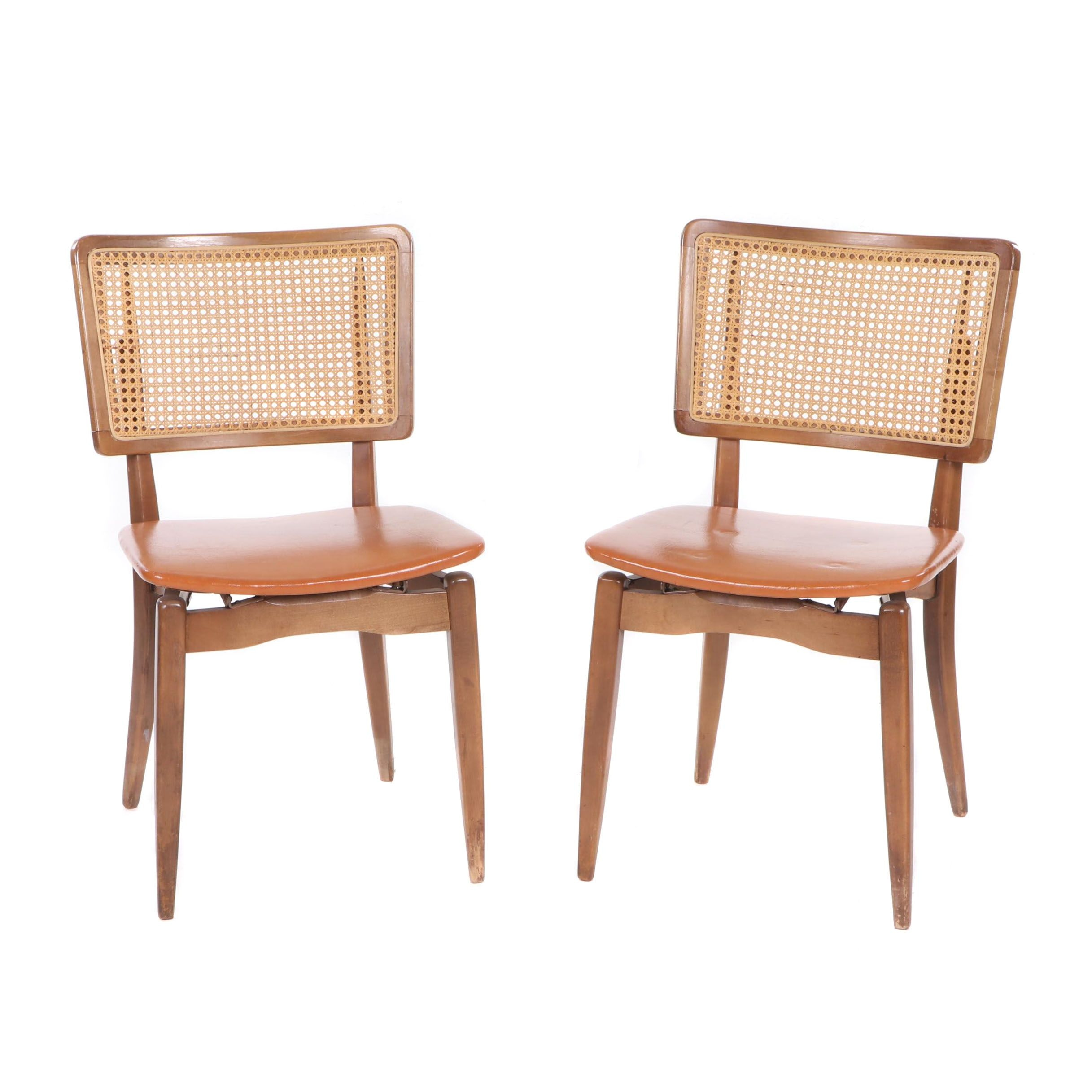 Stakmore Cane-Back Folding chairs, Mid-20th Century