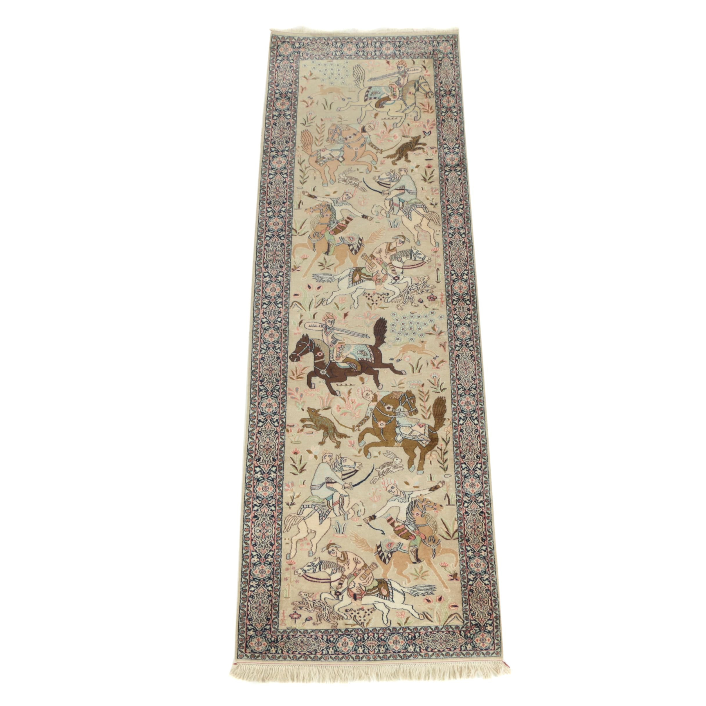 Hand Knotted Persian Qum Silk Pictorial Hunting Carpet Runner