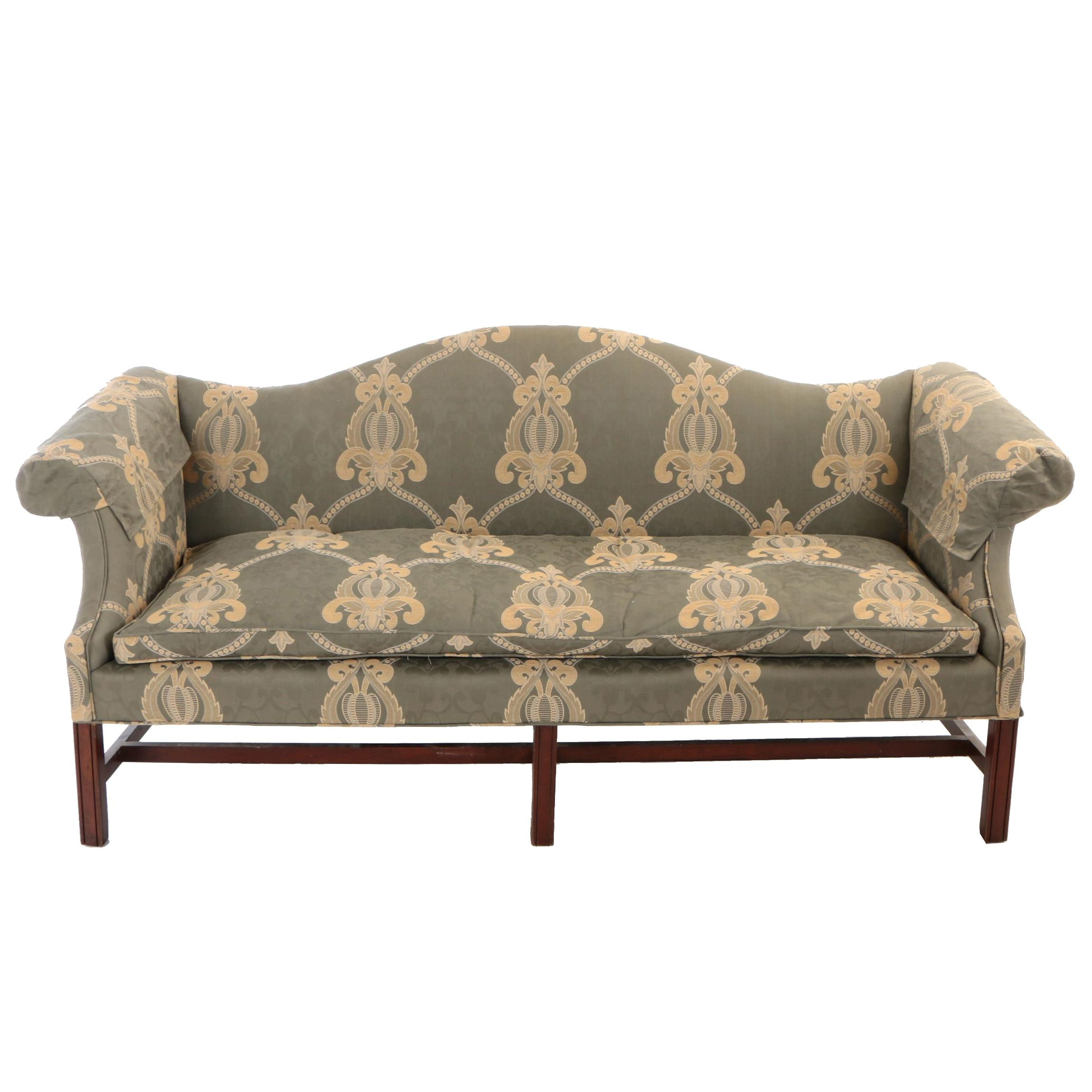 Chippendale Style Mahogany-Stained and Custom-Upholstered Sofa, 20th Century