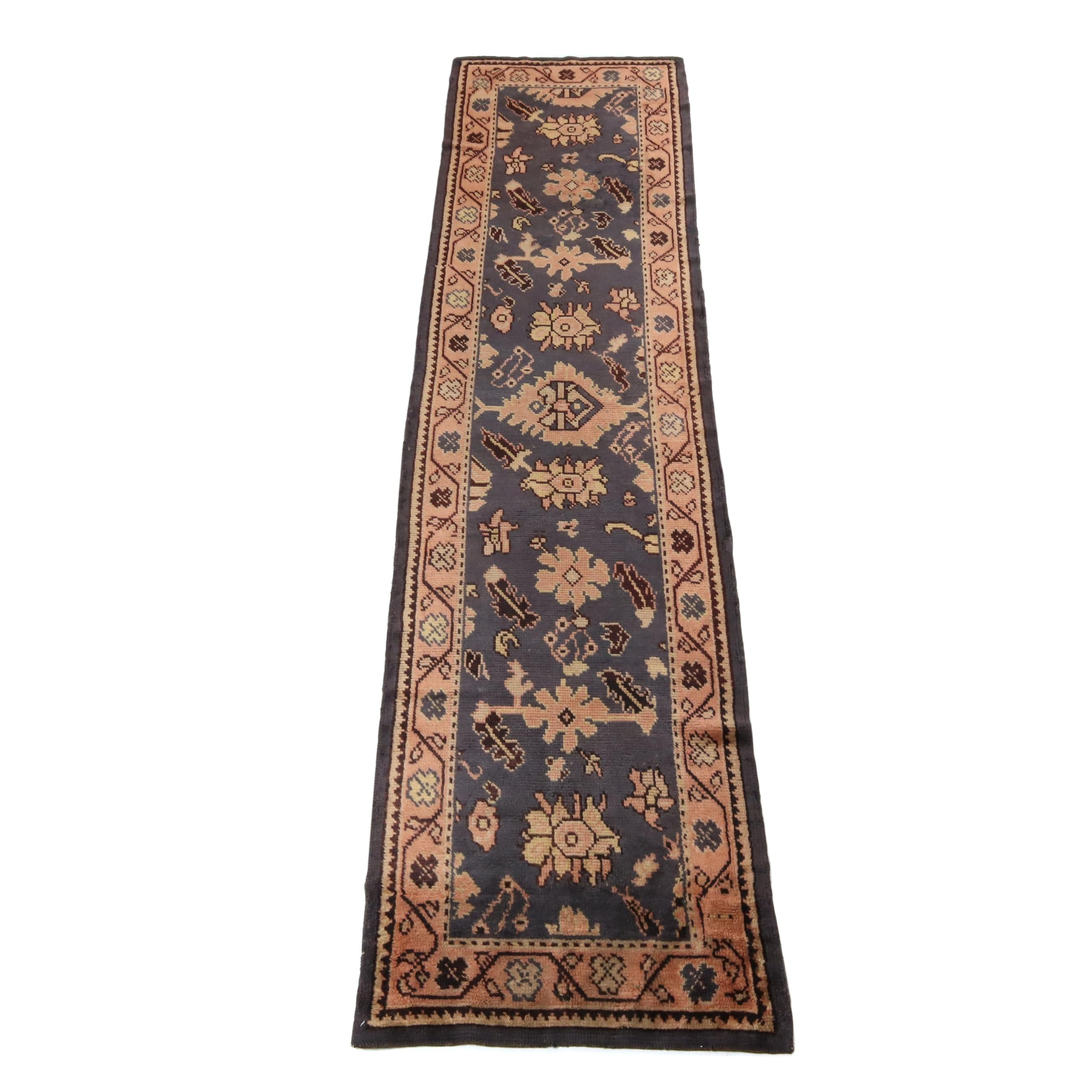 2.10' x 11.4' Hand-Knotted Turkish Oushak Rug Runner, Circa 1920s