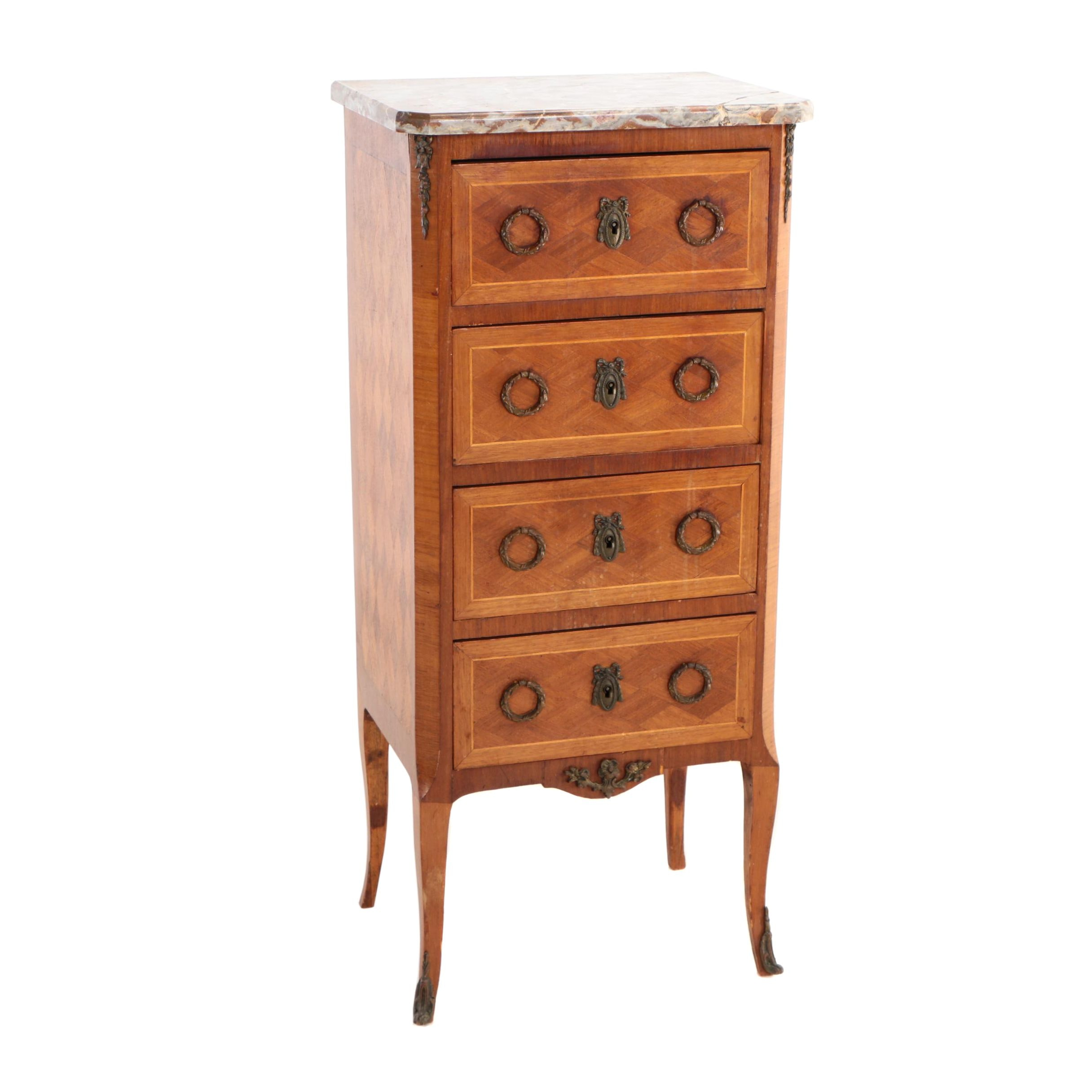 French Transitional Style Gilt-Metal, Parquetry, and Variegated Marble Commode