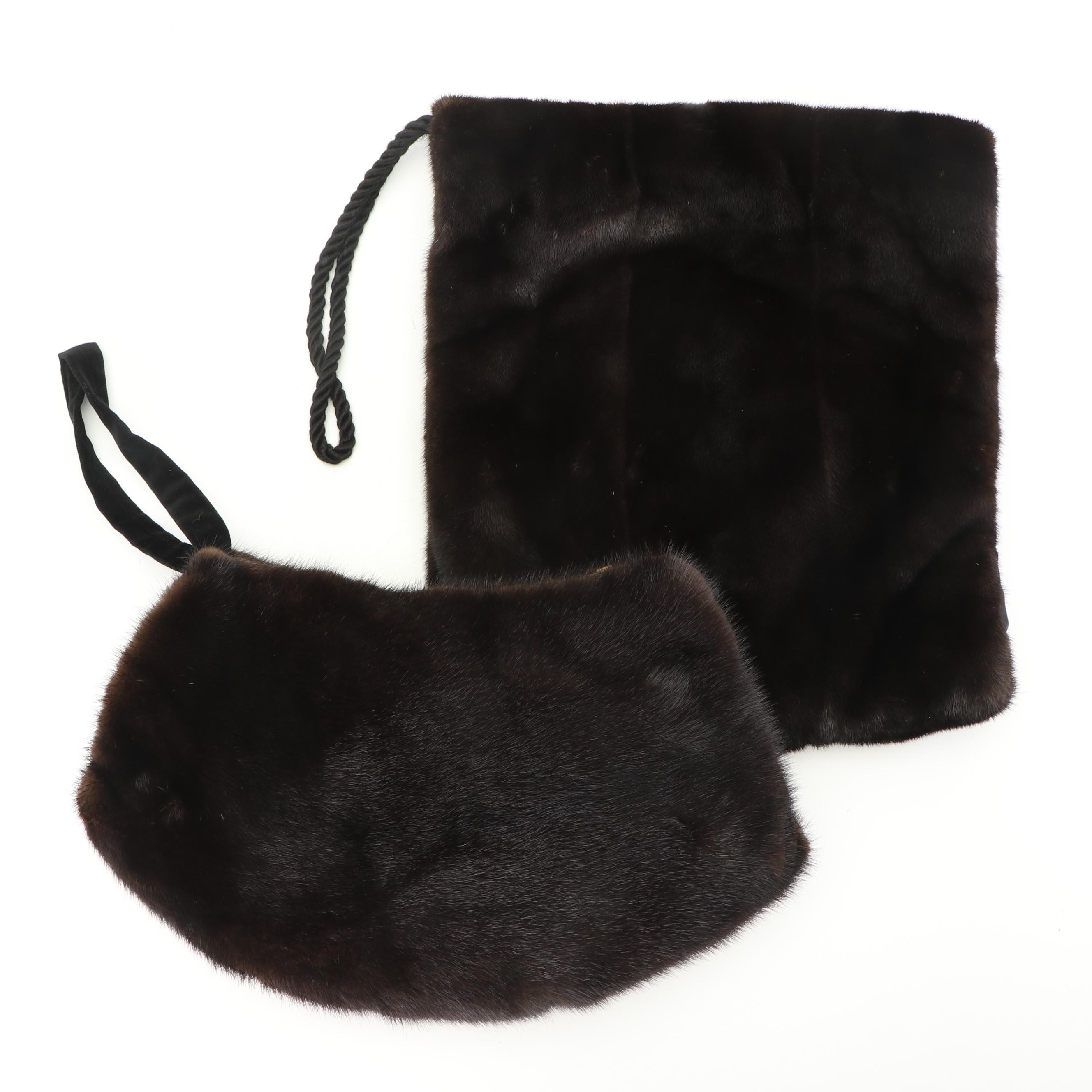Mink Fur Muffs with Neiman Marcus Hat Box, Mid-20th Century