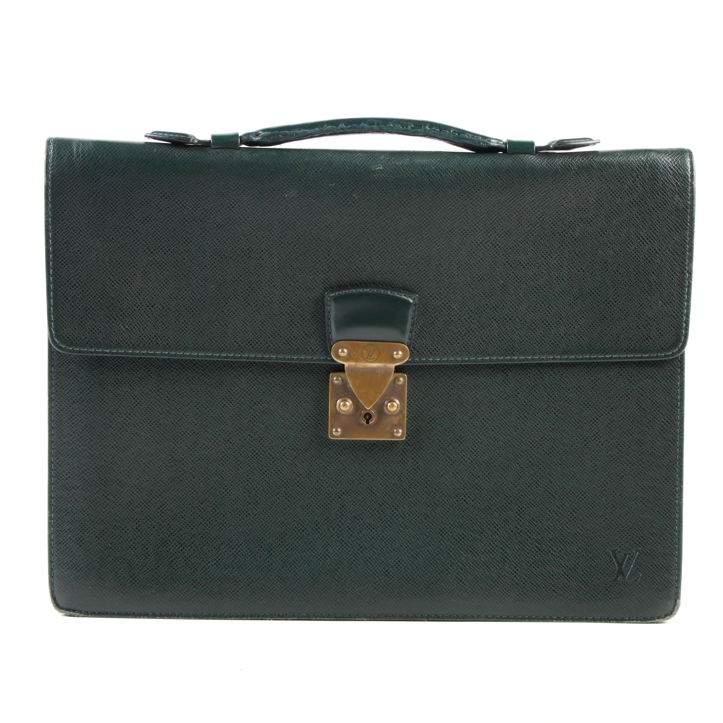 Louis Vuitton Paris Green Taiga Leather Briefcase
