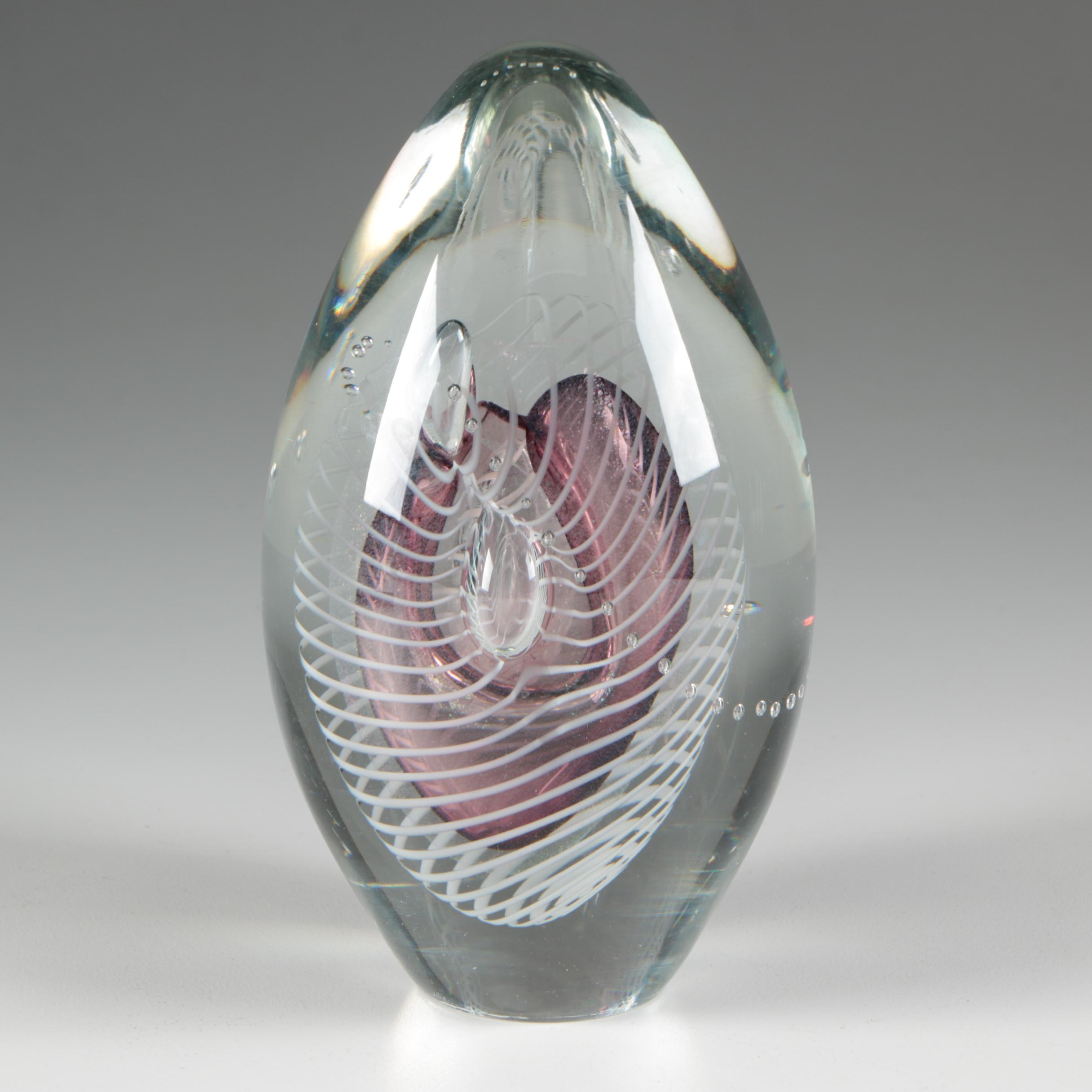 Robert Eickholt Blown Glass Paperweight, 1991